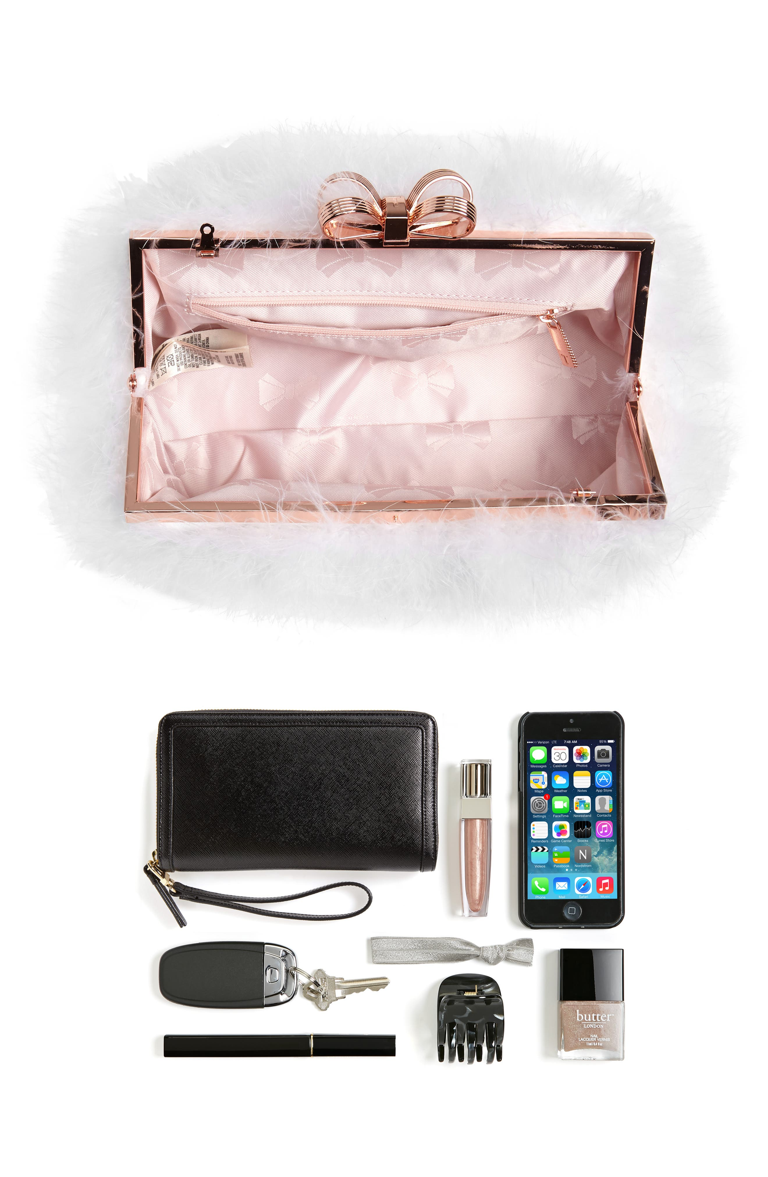 Loop Bow Feather Evening Bag,                             Alternate thumbnail 6, color,