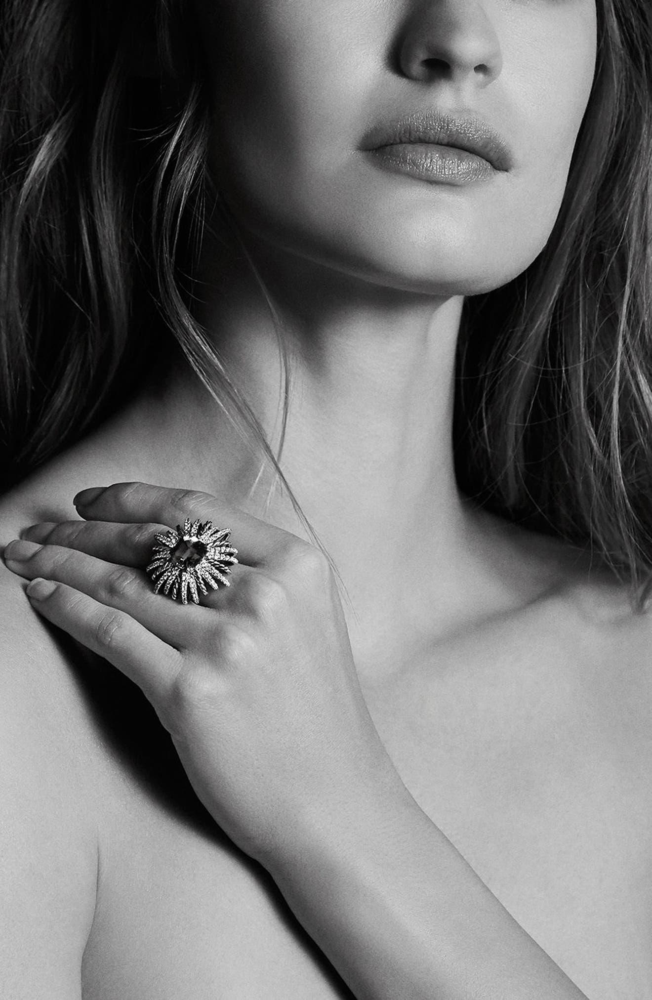 'Starburst' Ring with Semiprecious Stone and Diamonds,                             Alternate thumbnail 4, color,                             Hampton Blue Topaz