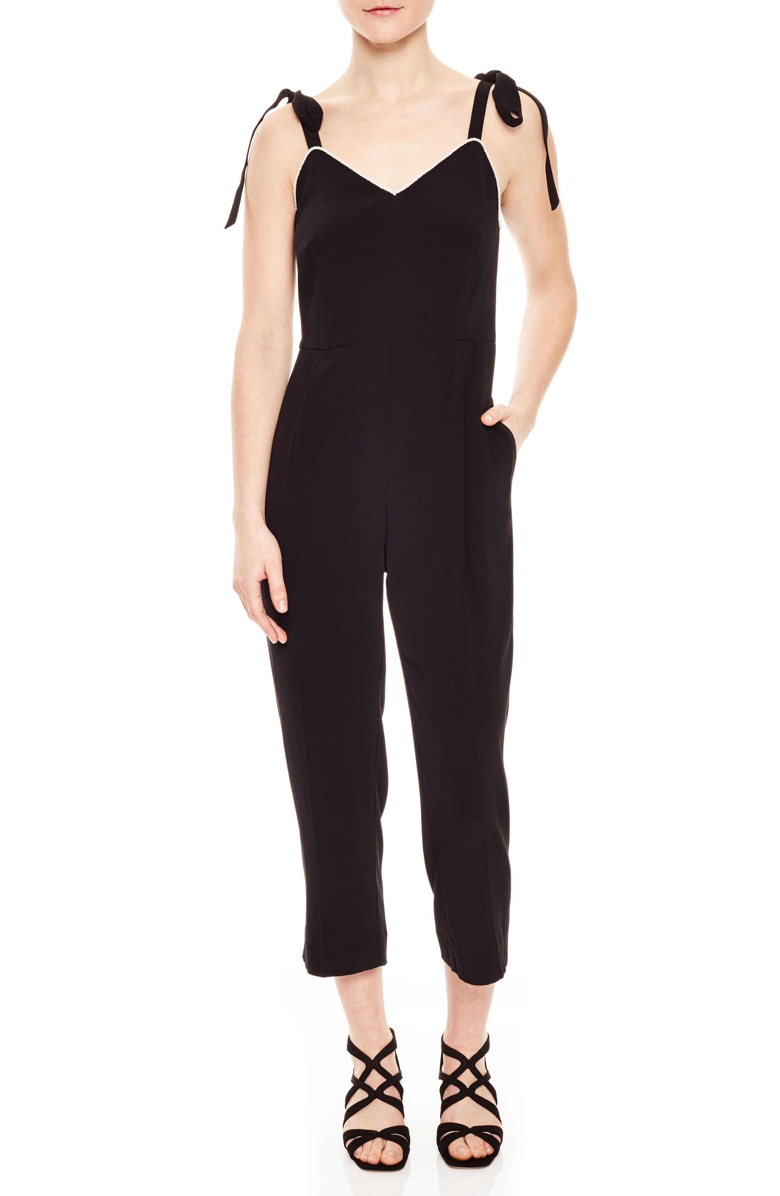 Beaded Crop Jumpsuit,                             Main thumbnail 1, color,                             Noir