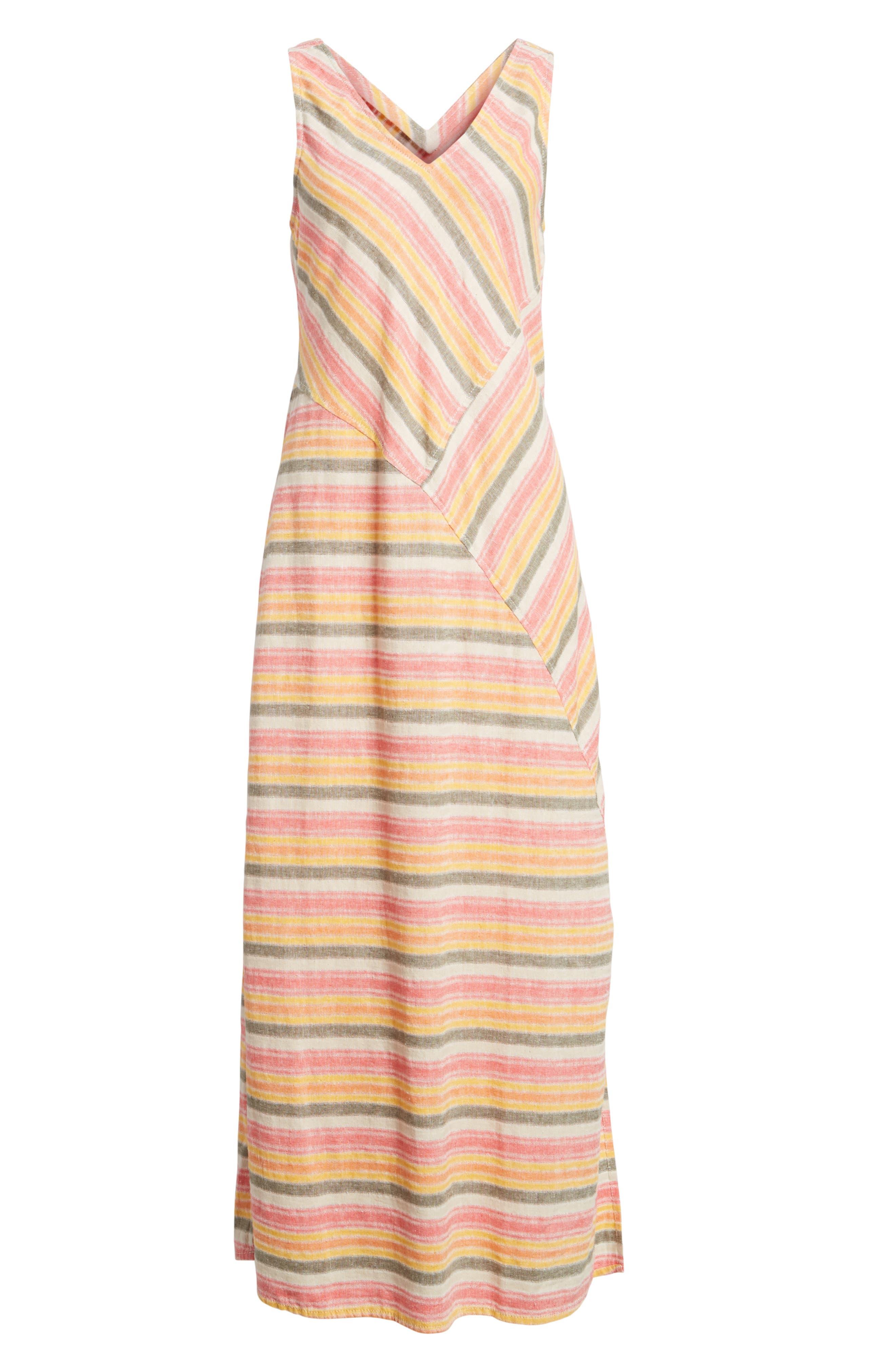 Stripe A-Line Maxi Dress,                             Alternate thumbnail 5, color,                             Coral Erin Stripe
