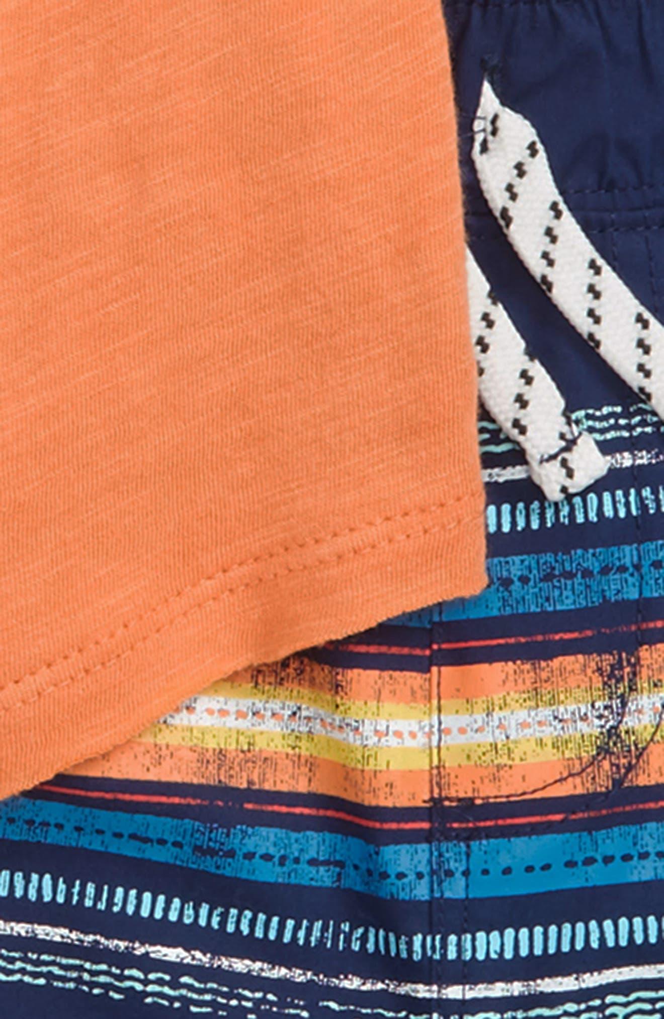 T-Shirt & Stripe Shorts Set,                             Alternate thumbnail 3, color,                             Atomic Orange