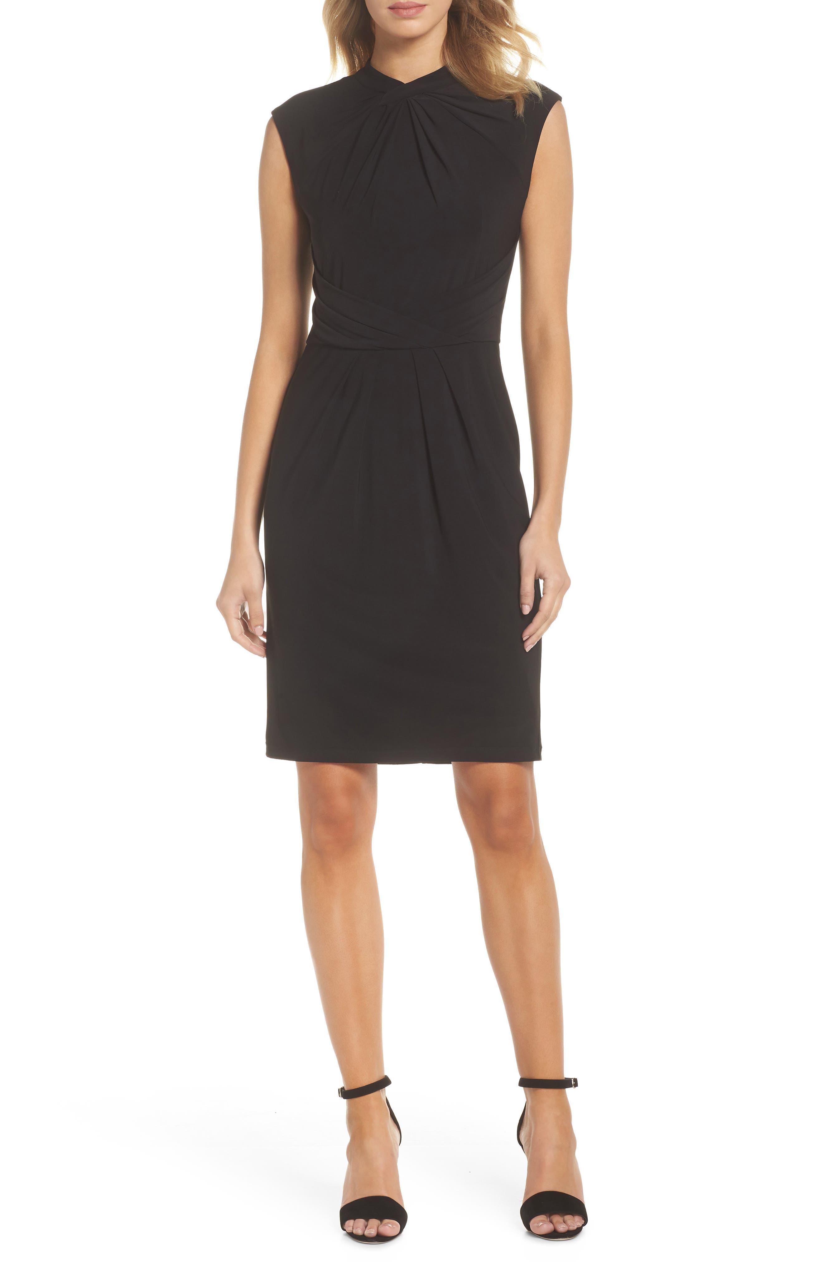 Matte Jersey Sheath Dress,                             Main thumbnail 1, color,                             Black
