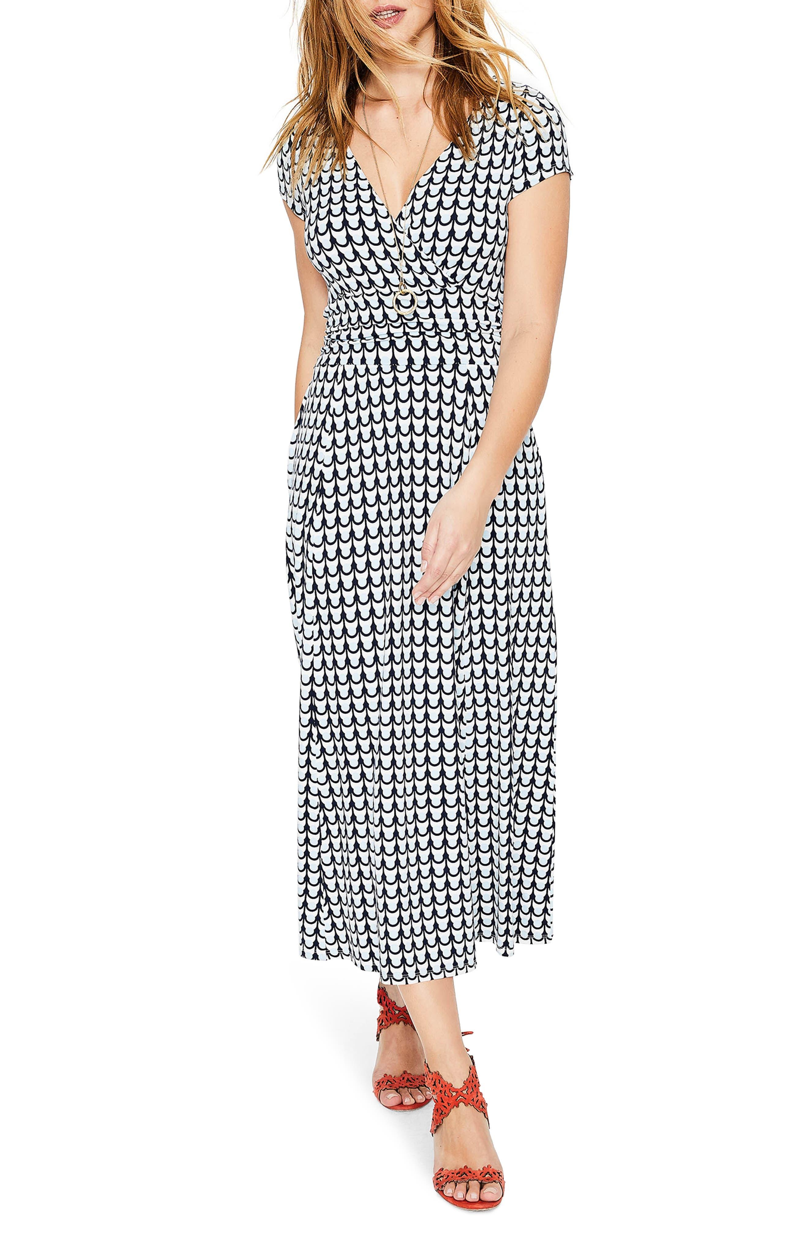 Faux Wrap Midi Dress,                         Main,                         color, Ice Grey Retro Spot