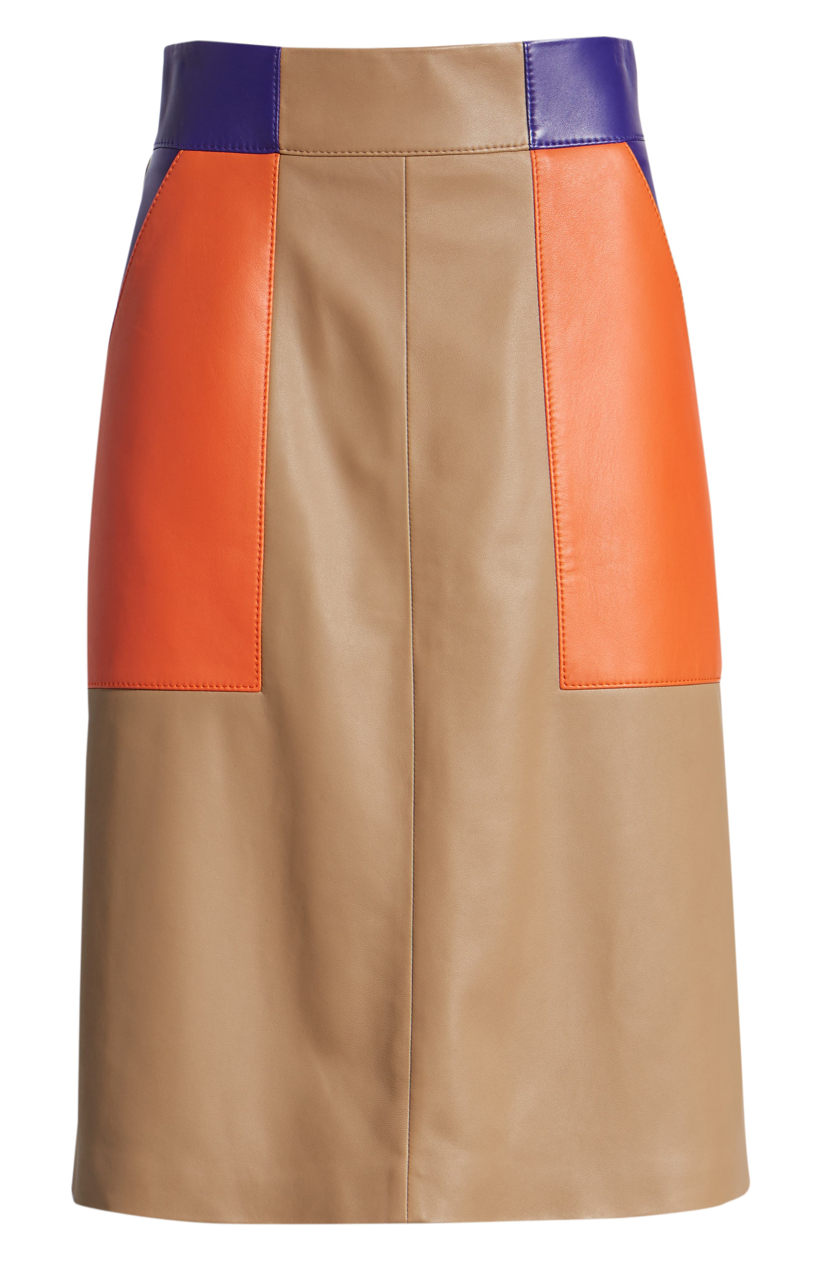 Seplea Colorblock Leather Skirt,                             Alternate thumbnail 6, color,                             Warm Clay Fantasy