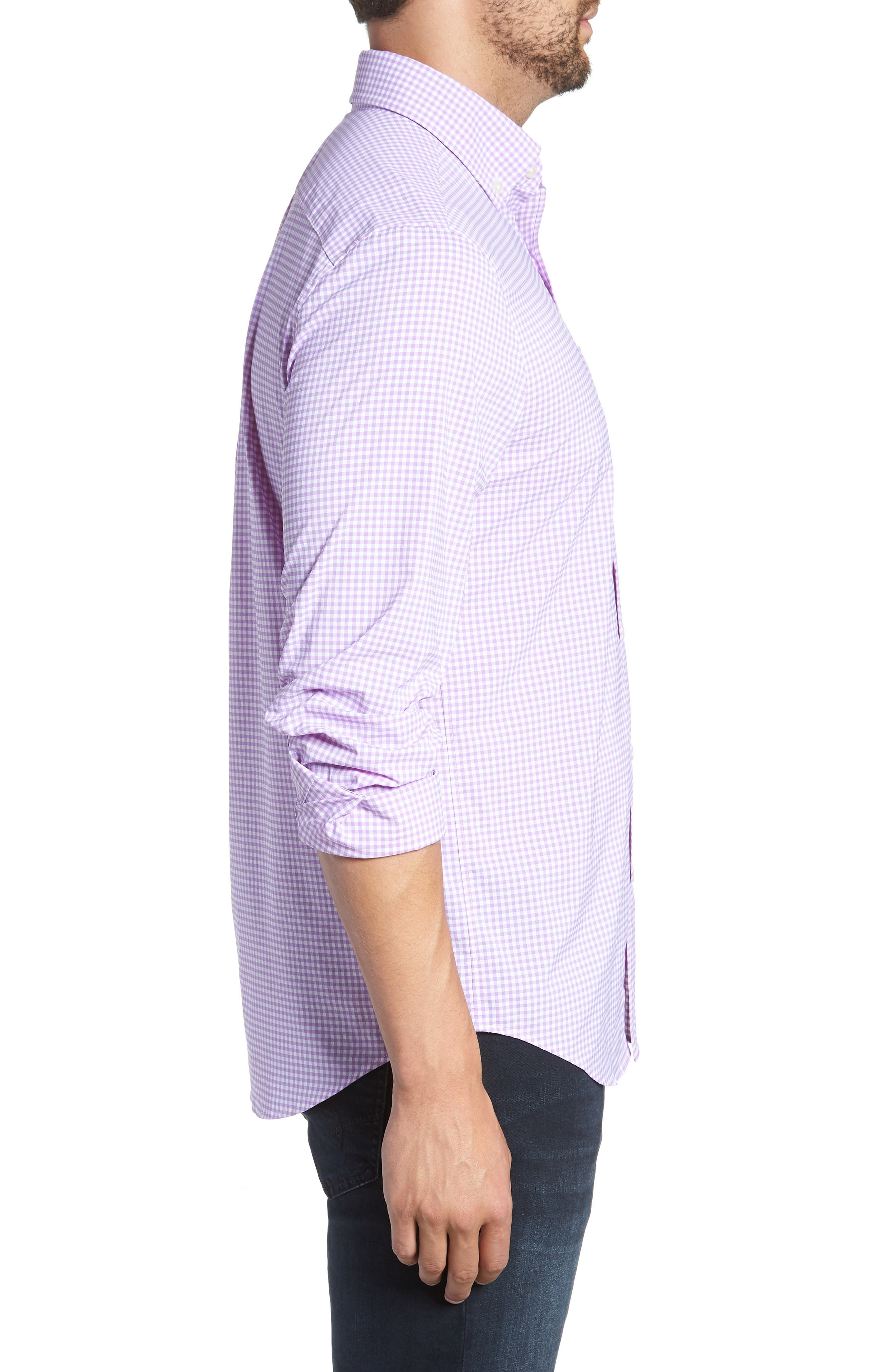 Grand Cay Tucker Regular Fit Gingham Performance Sport Shirt,                             Alternate thumbnail 4, color,                             Sea Urchin