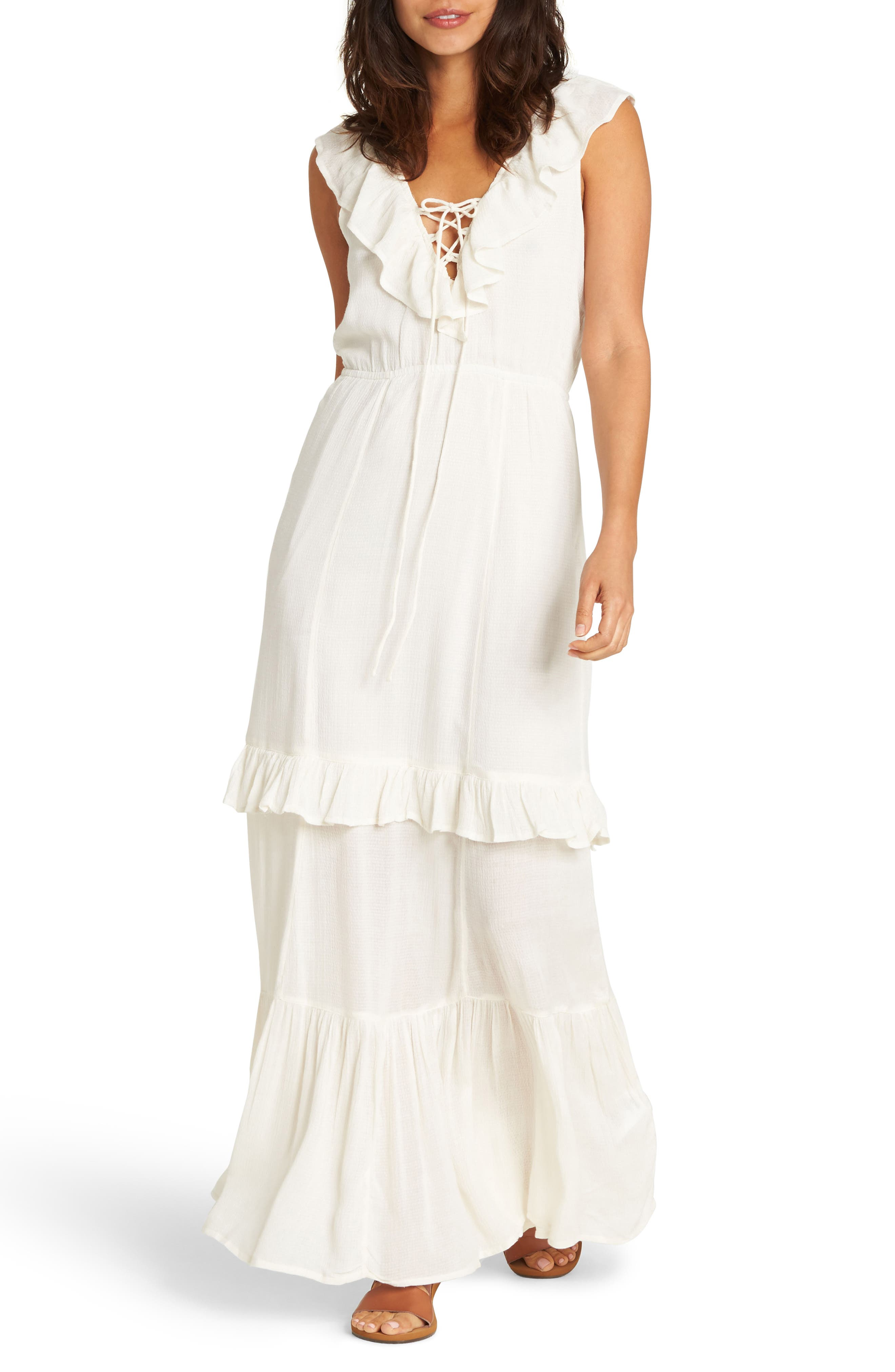 Romance Row Ruffle Tier Maxi Dress,                         Main,                         color, Cool Wip