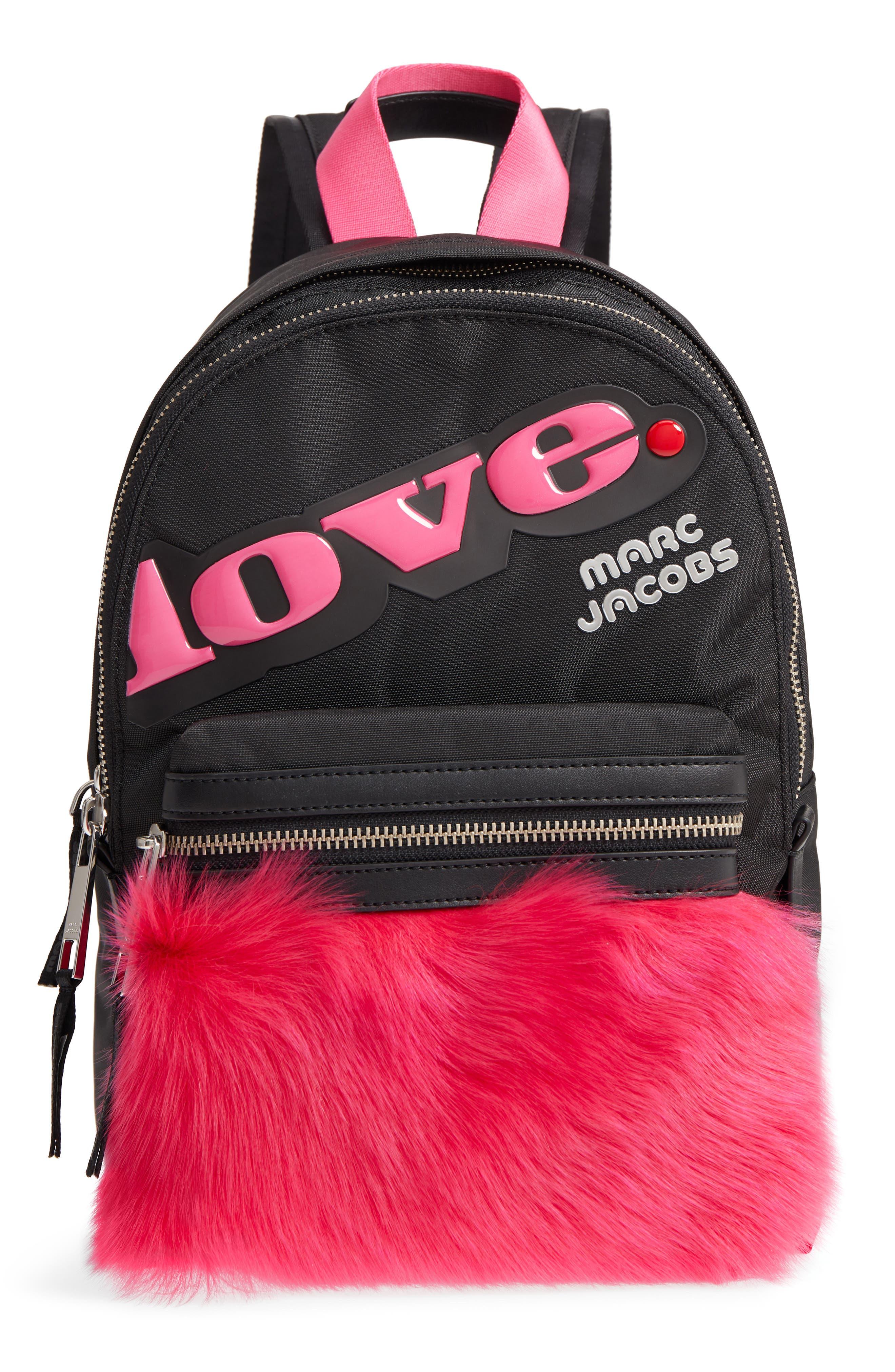 Love Medium Trek Nylon & Genuine Shearling Backpack,                             Main thumbnail 1, color,                             Black Multi