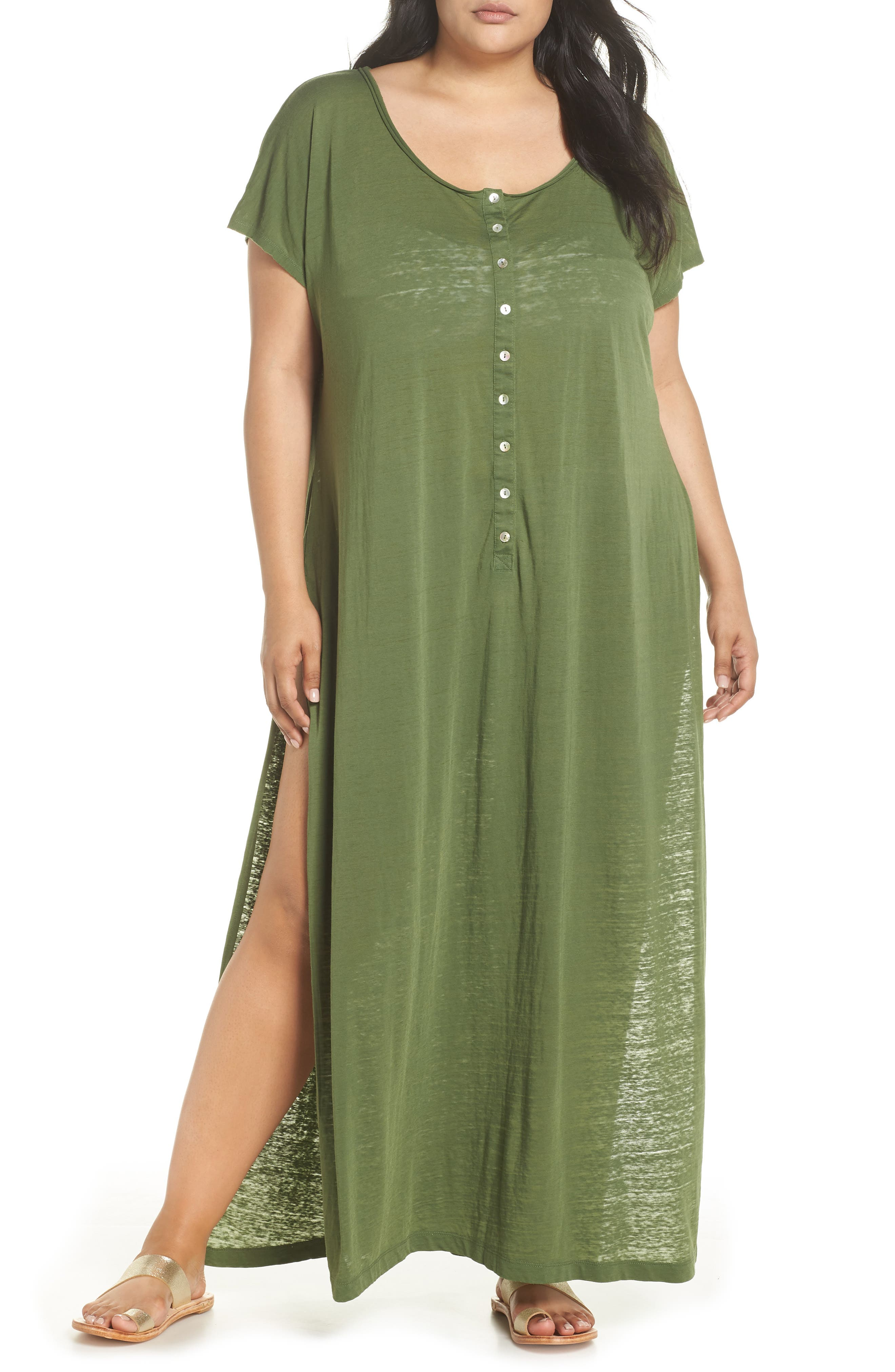 Henley Cover-Up Dress,                         Main,                         color, Green Bronze