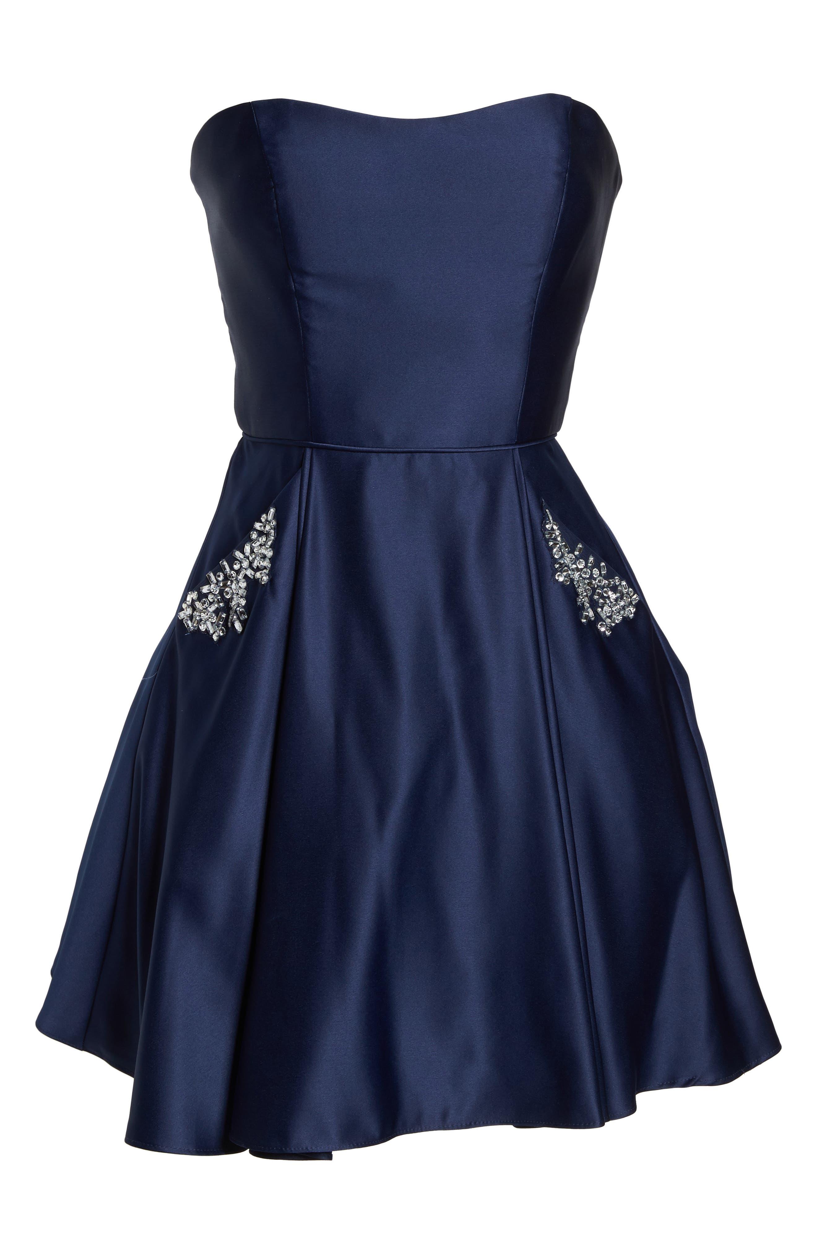 Embellished Satin Fit & Flare Dress,                             Alternate thumbnail 6, color,                             Navy