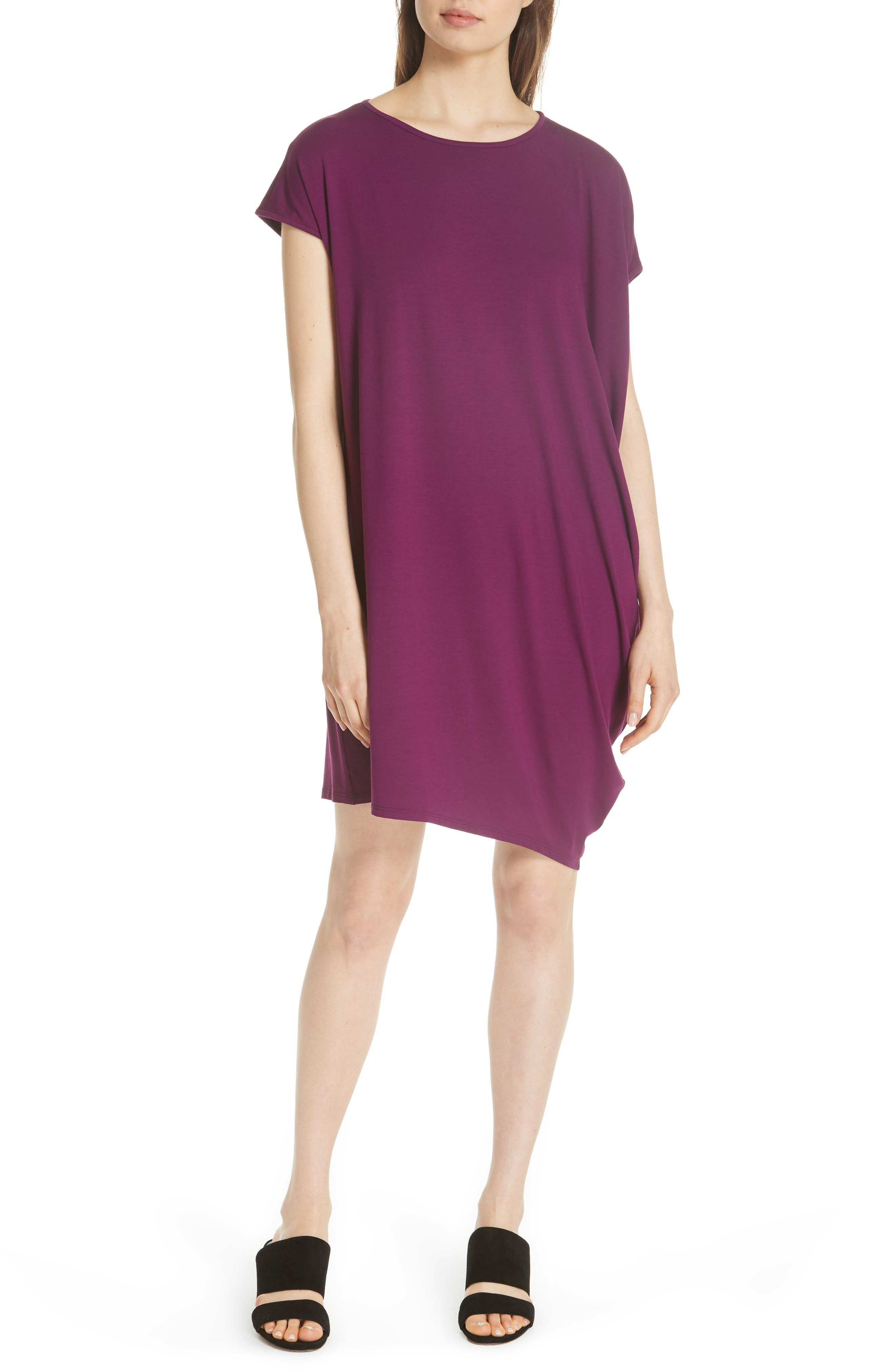 Asymmetrical Jersey Shift Dress,                             Main thumbnail 1, color,                             Boysenberry