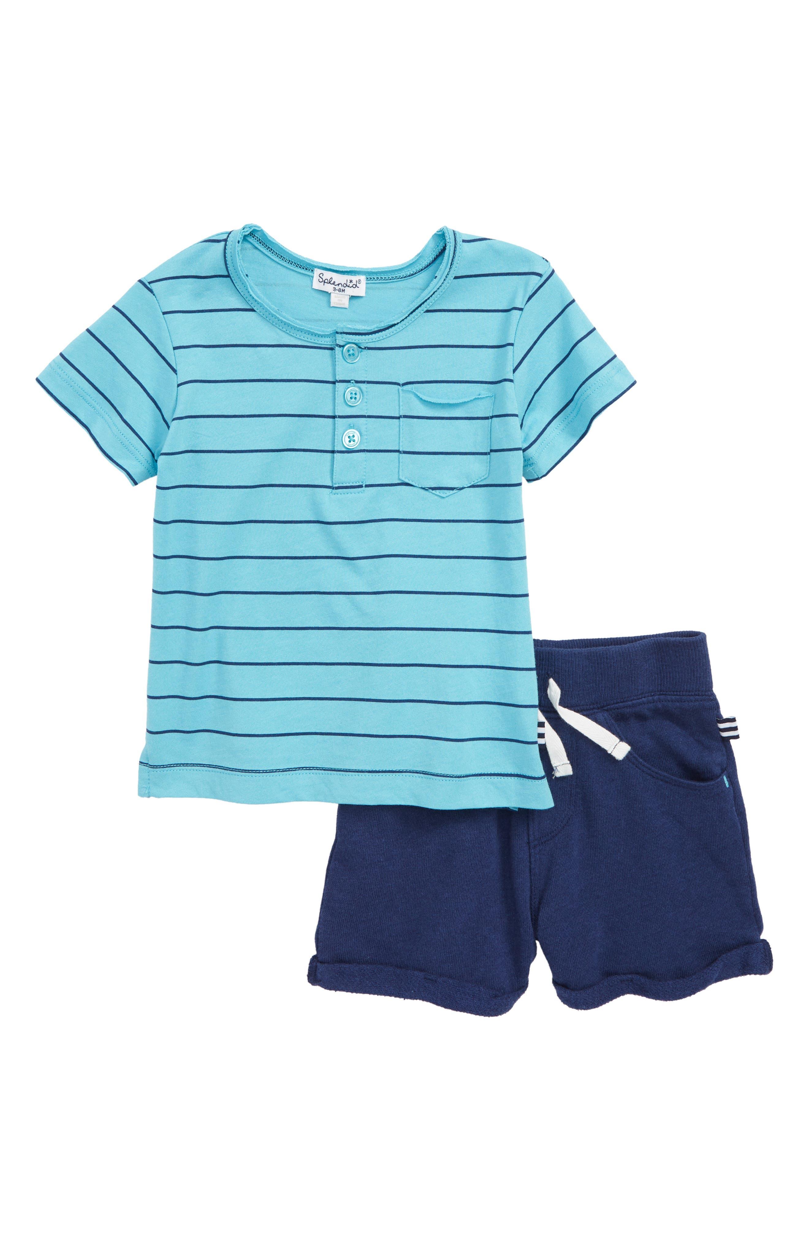 Henley T-Shirt & Shorts Set,                             Main thumbnail 1, color,                             Maui Blue