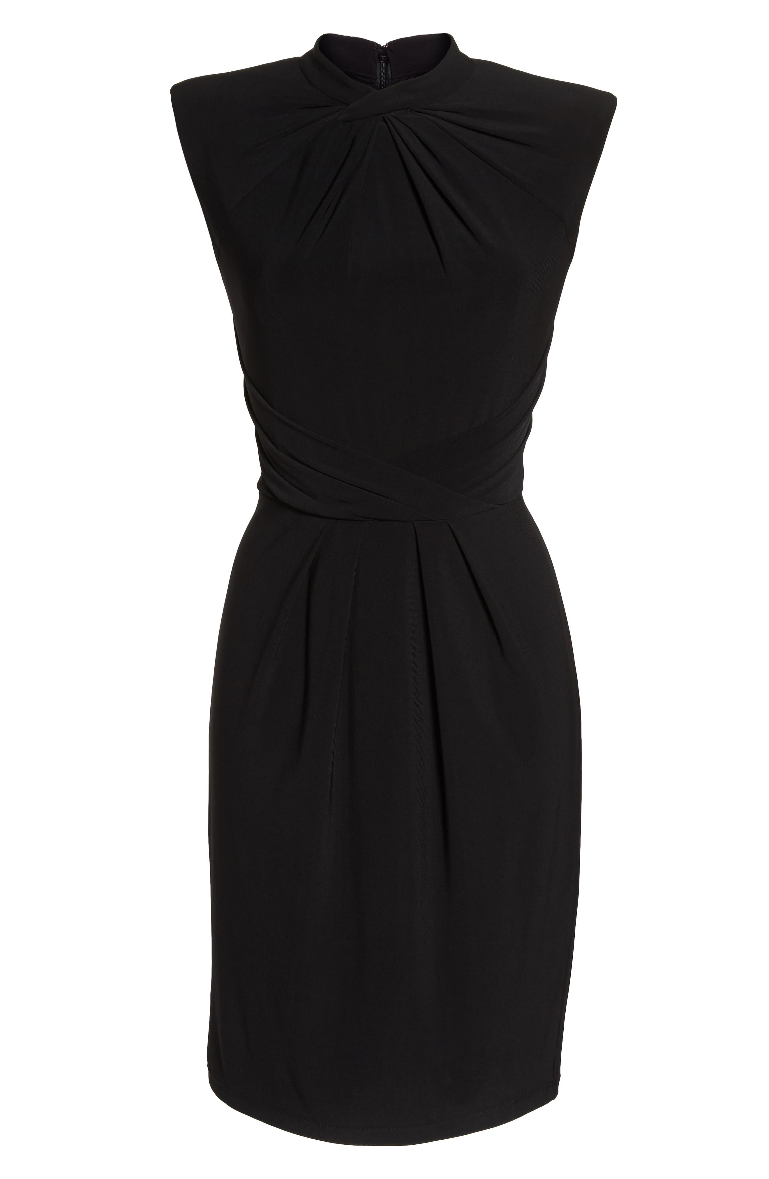 Matte Jersey Sheath Dress,                             Alternate thumbnail 7, color,                             Black