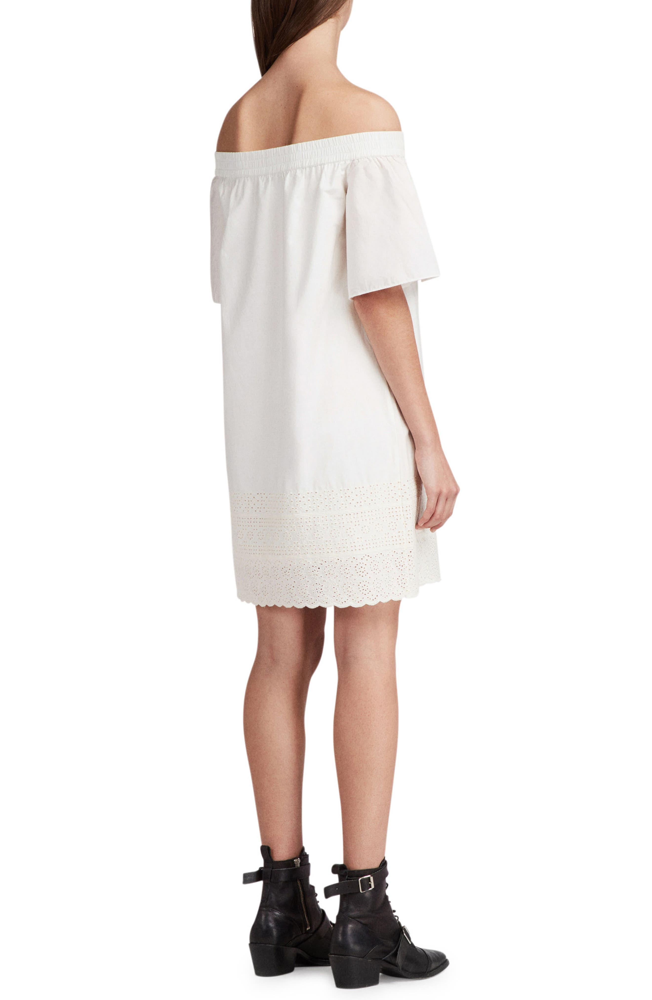 Livia Trixi Off the Shoulder Cotton Dress,                             Alternate thumbnail 2, color,                             Chalk White