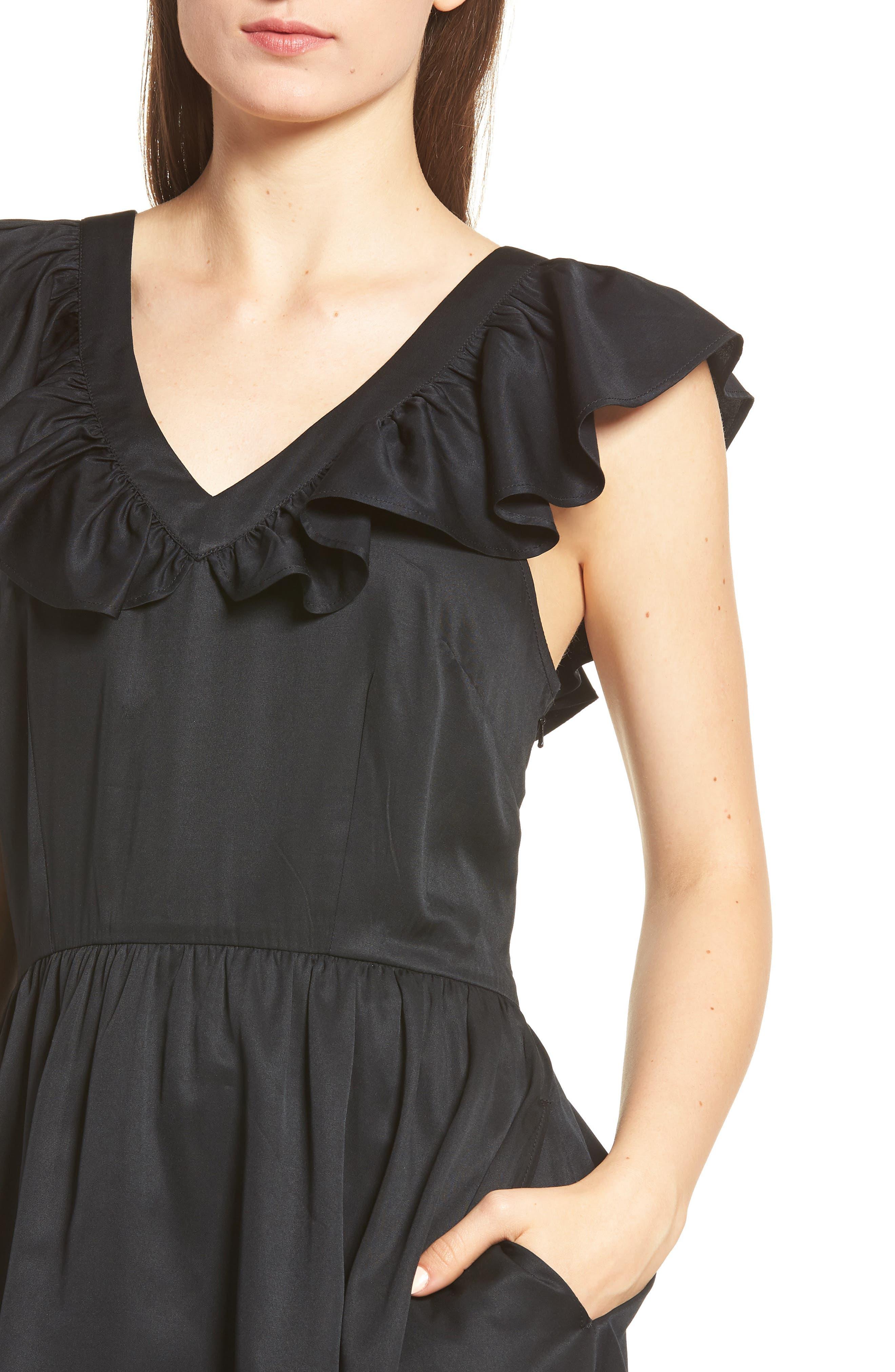 Ruffle Satin Dress,                             Alternate thumbnail 4, color,                             Black