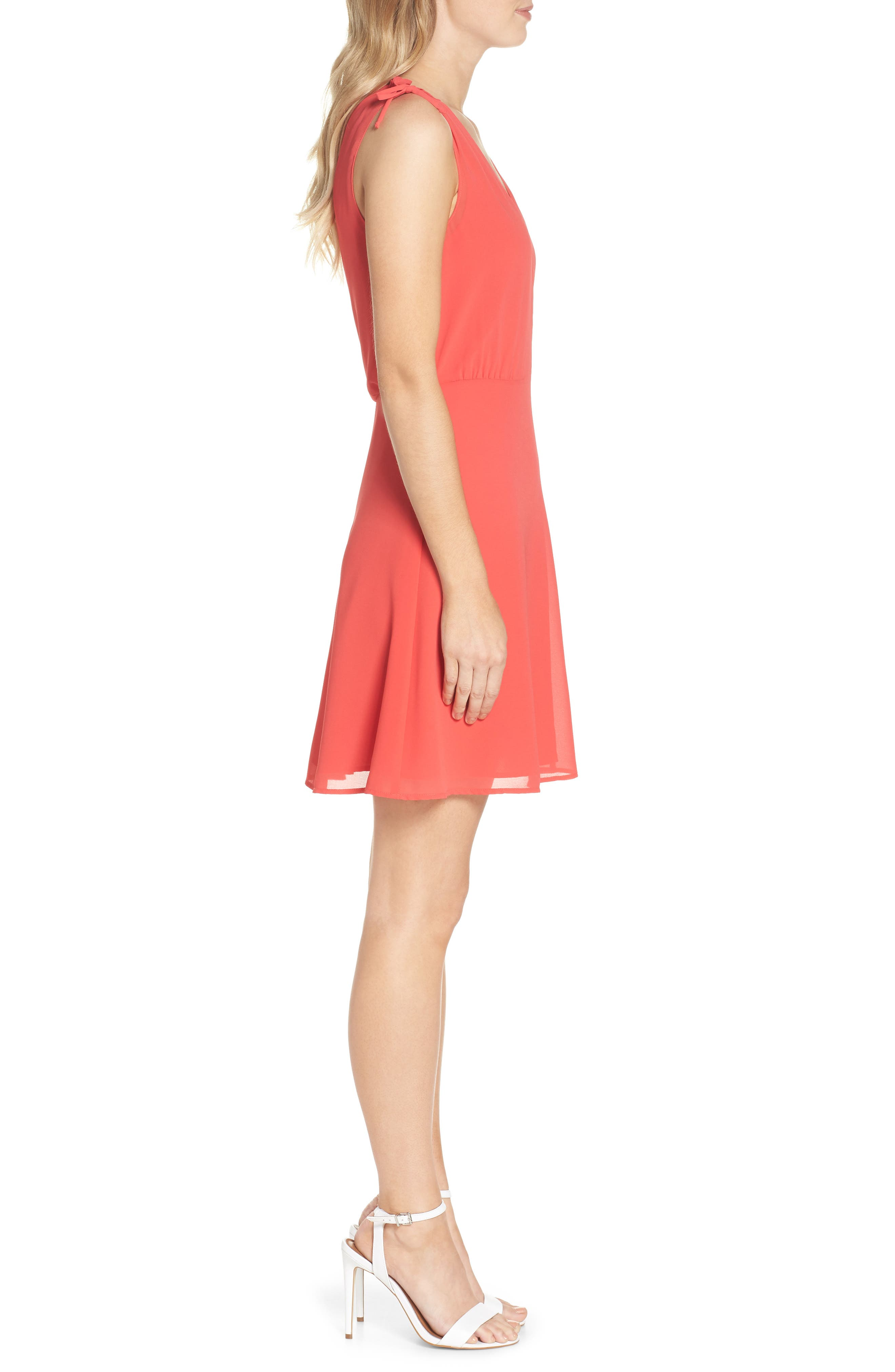 Soufflé V-Neck Chiffon Dress,                             Alternate thumbnail 3, color,                             Strawberry