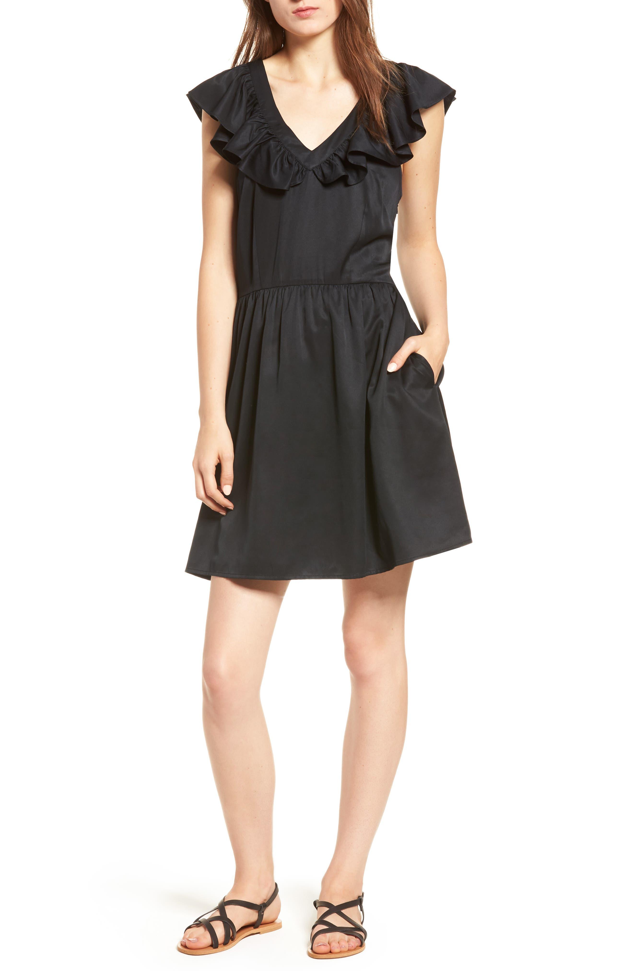 Ruffle Satin Dress,                         Main,                         color, Black