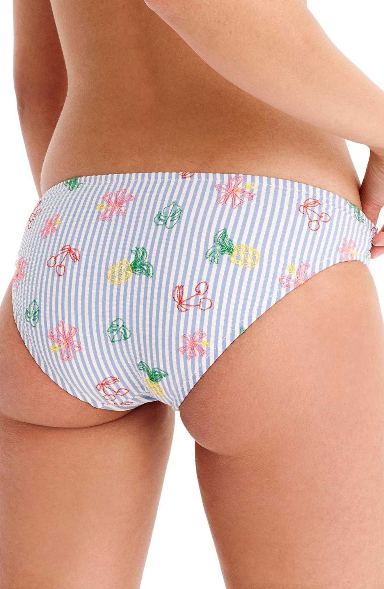 Seersucker Surf Hipster Bikini Bottoms,                             Alternate thumbnail 2, color,                             Fruity Multi