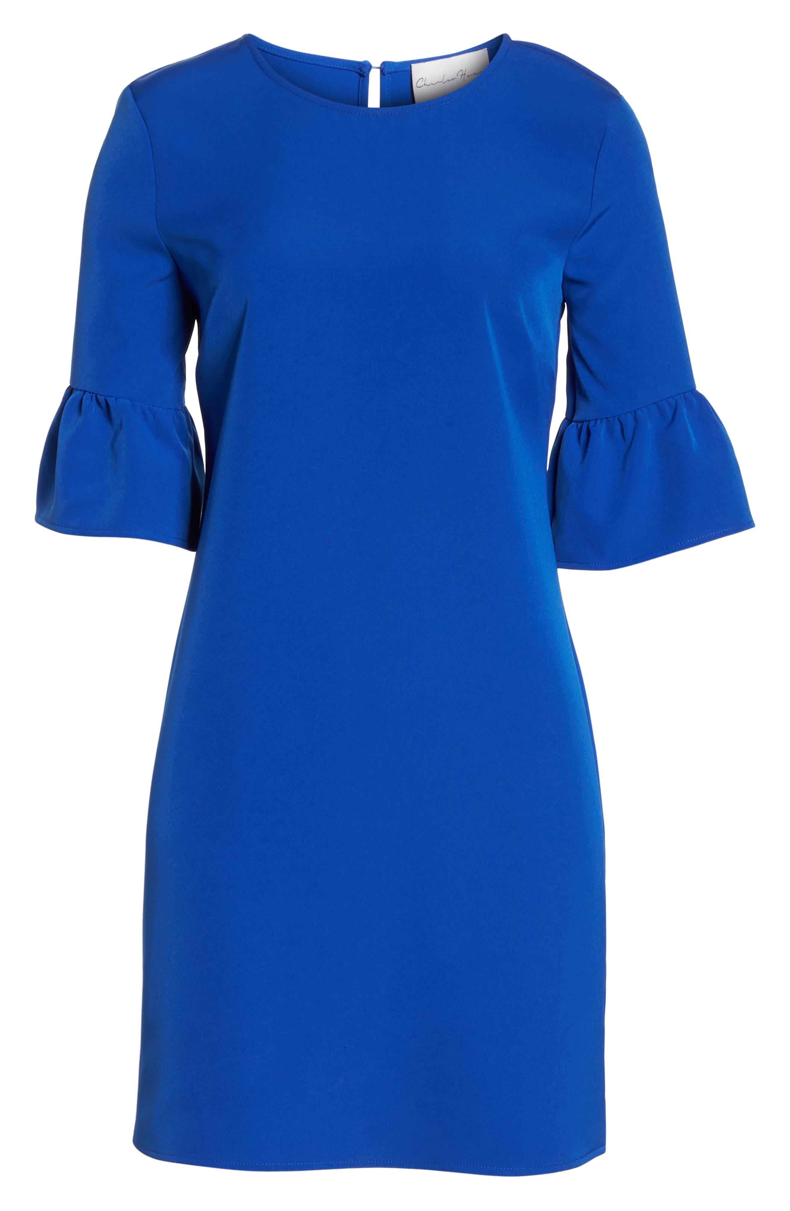 Bell Sleeve Shift Dress,                             Alternate thumbnail 7, color,                             Patriot Blue
