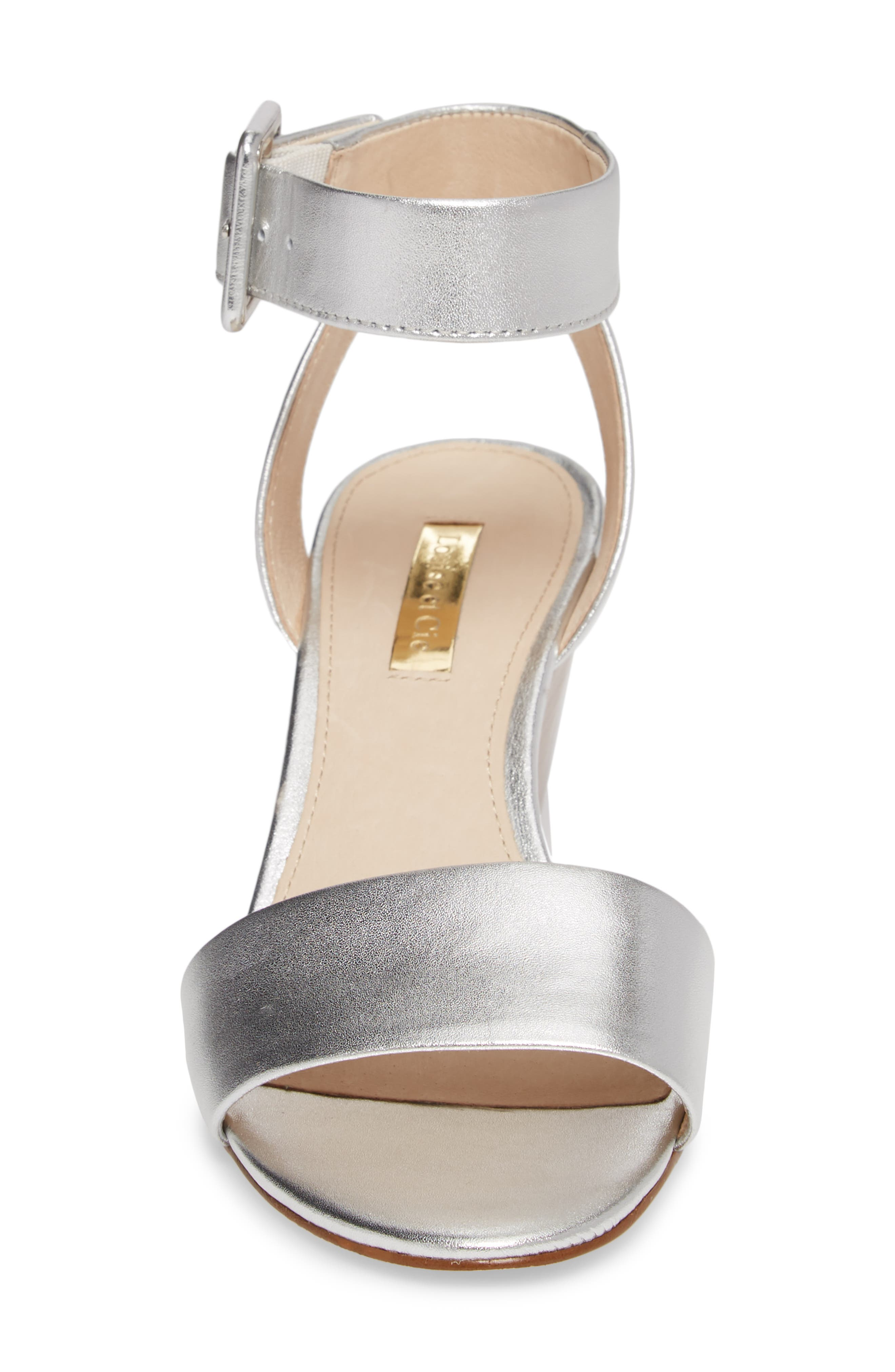 Punya Wedge Sandal,                             Alternate thumbnail 4, color,                             Metallic Silver Leather