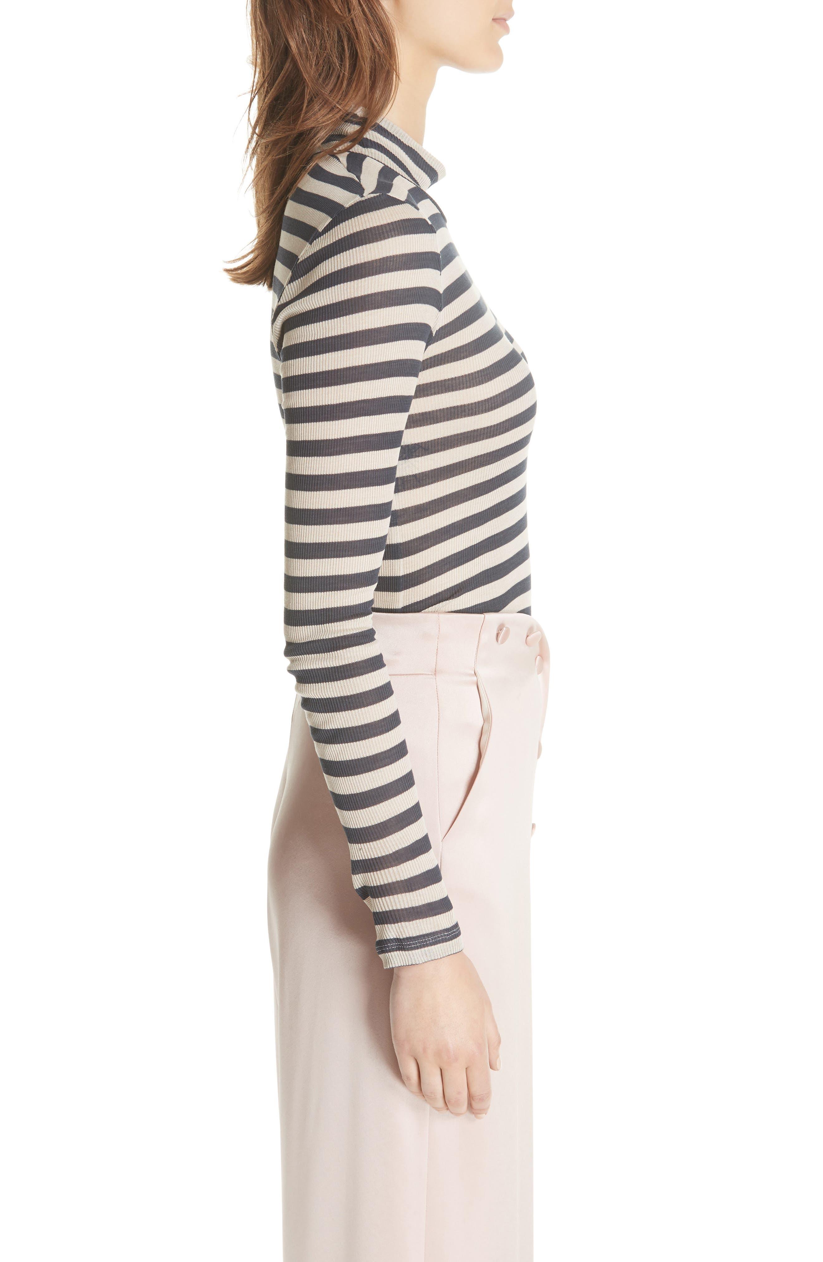Alana Stripe Mock Neck Top,                             Alternate thumbnail 3, color,                             Navy Stripe