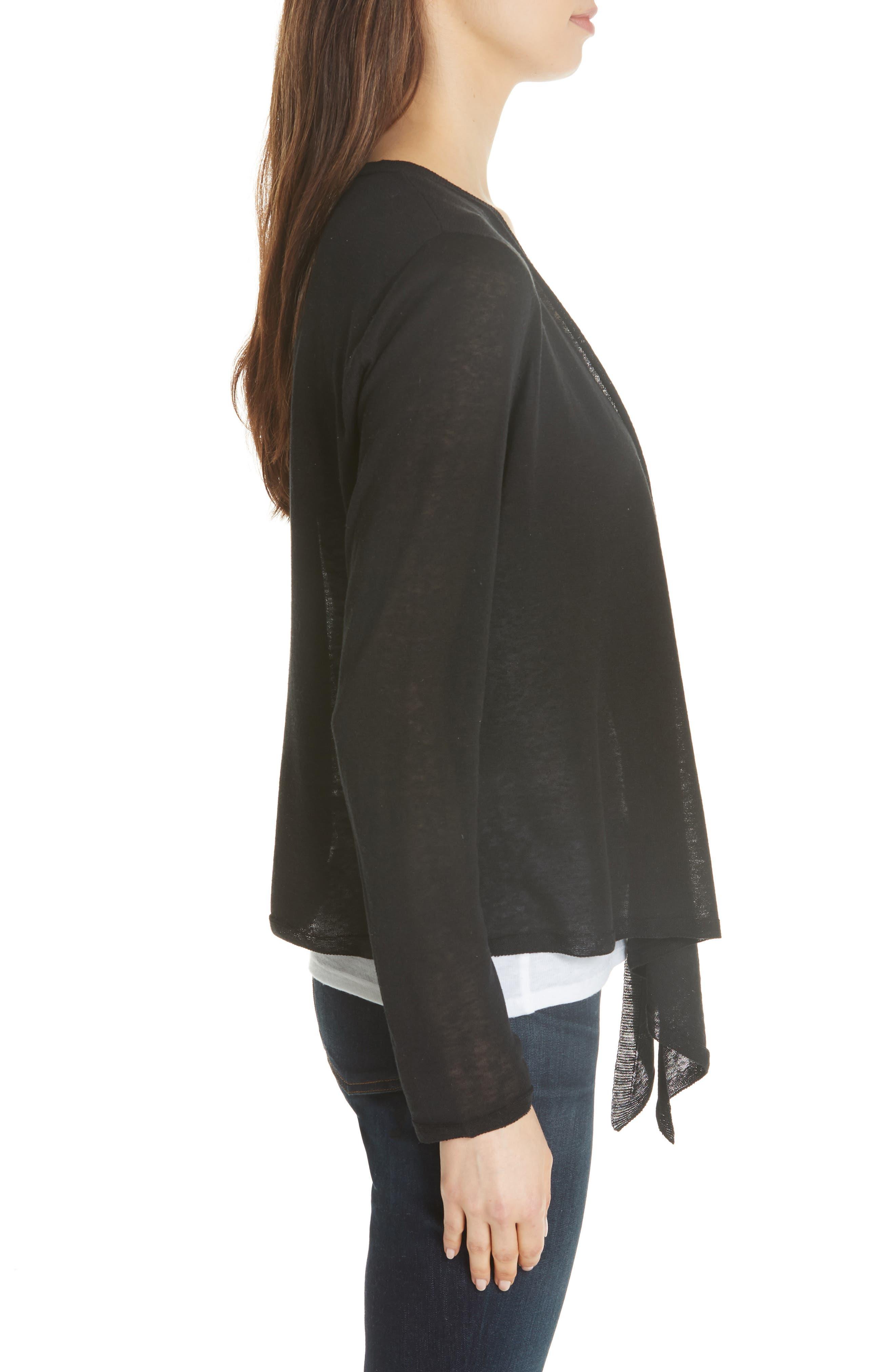 Angle Front Silk Blend Cardigan,                             Alternate thumbnail 3, color,                             Black
