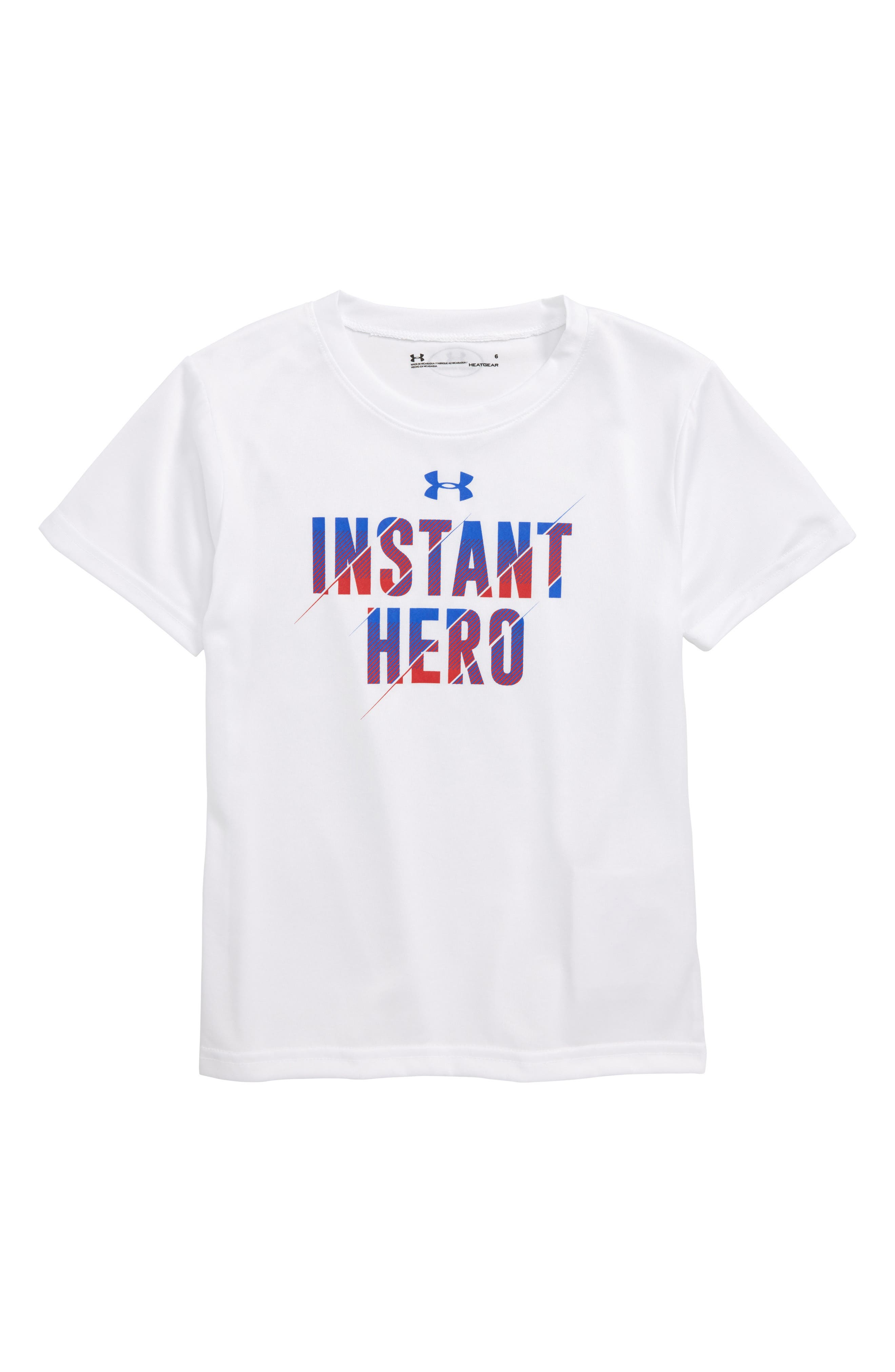 Instant Hero HeatGear<sup>®</sup> T-Shirt,                         Main,                         color, White