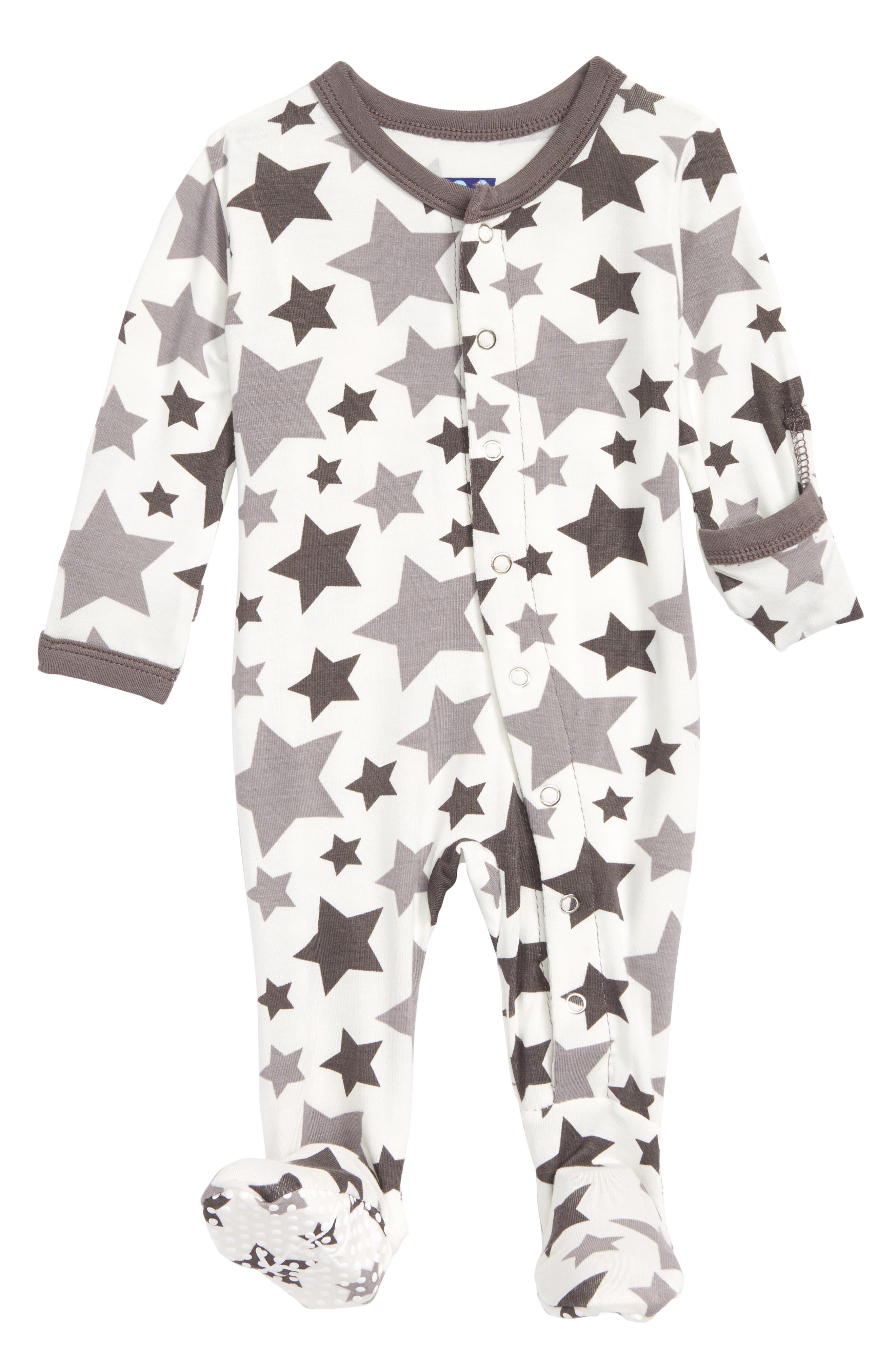 Star Print Footie,                         Main,                         color, Feather Rain Stars