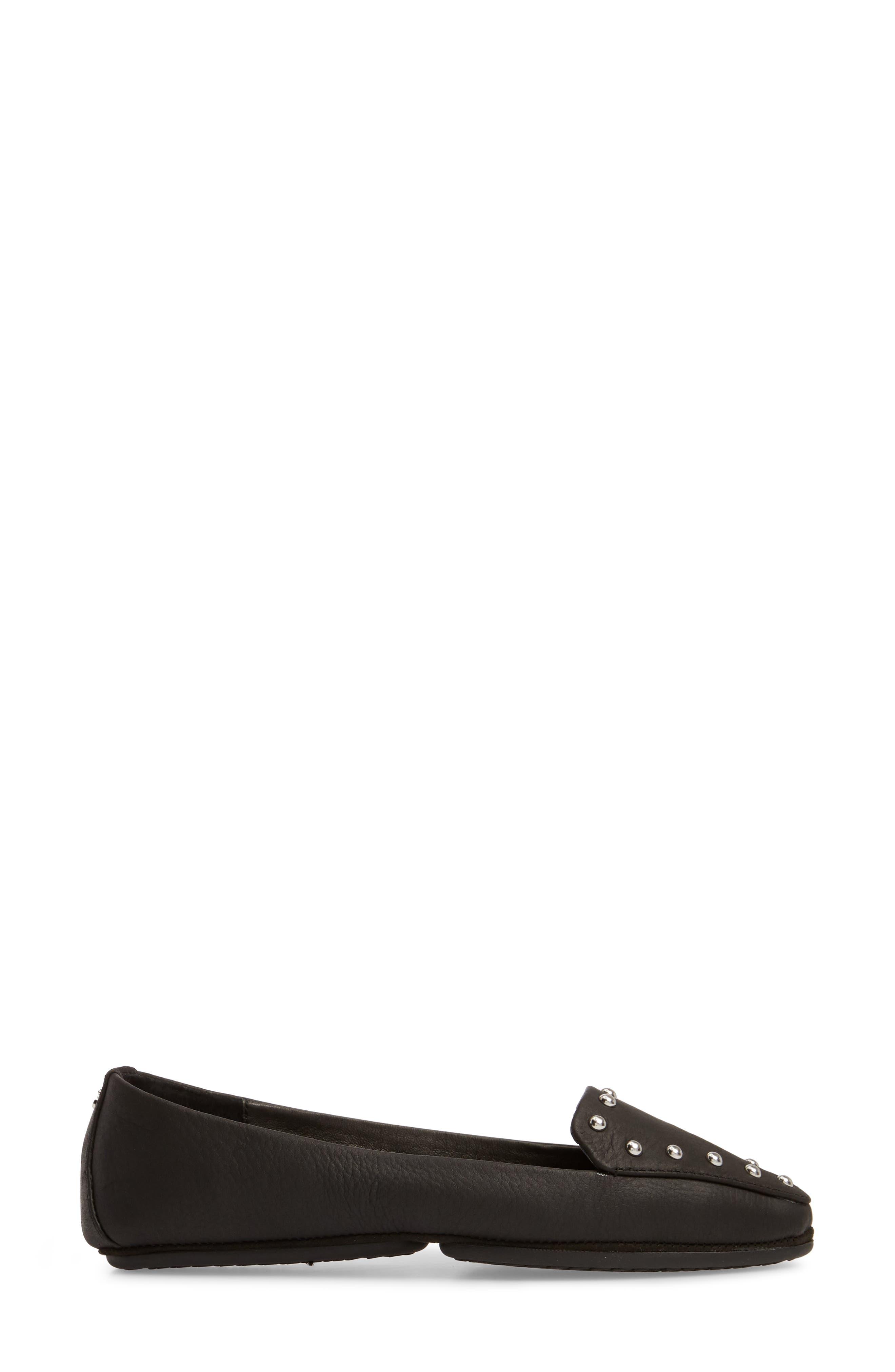 Vera Loafer,                             Alternate thumbnail 3, color,                             Black Stud Leather