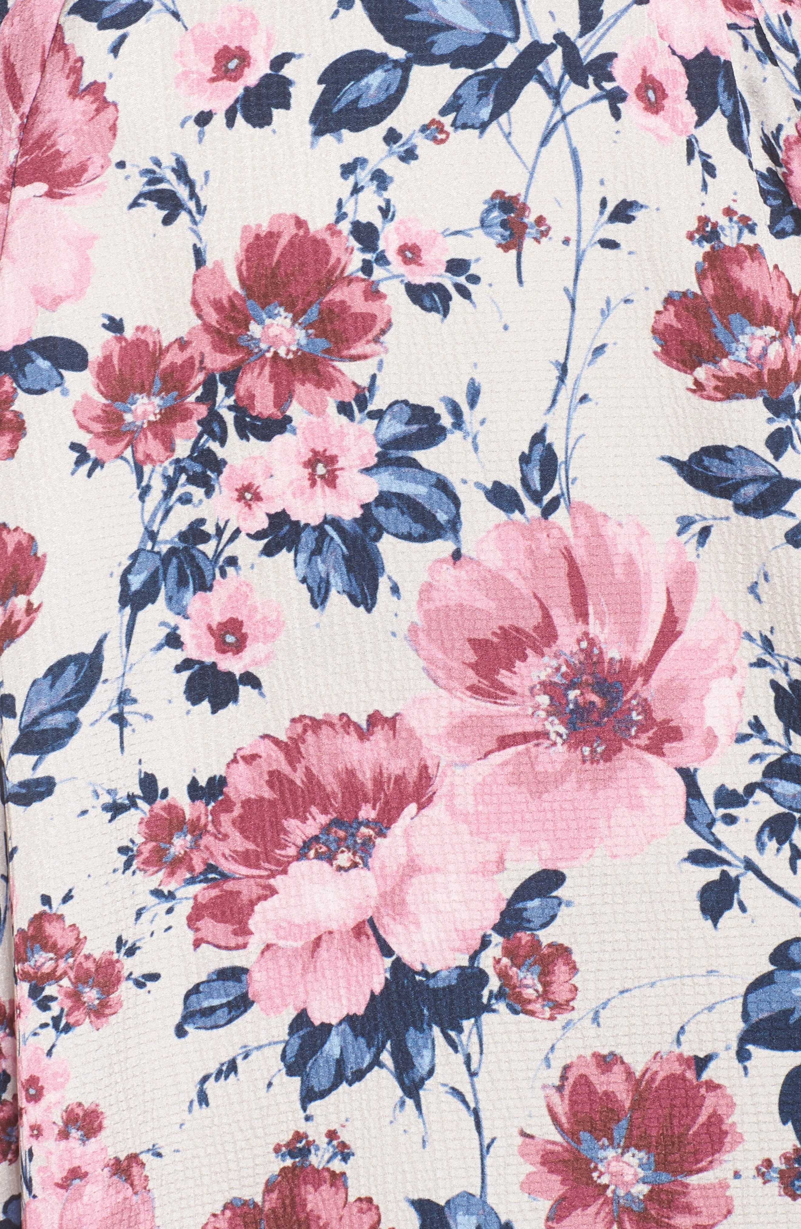 Julia Seersucker Midi Dress,                             Alternate thumbnail 7, color,                             Beige/ Pink