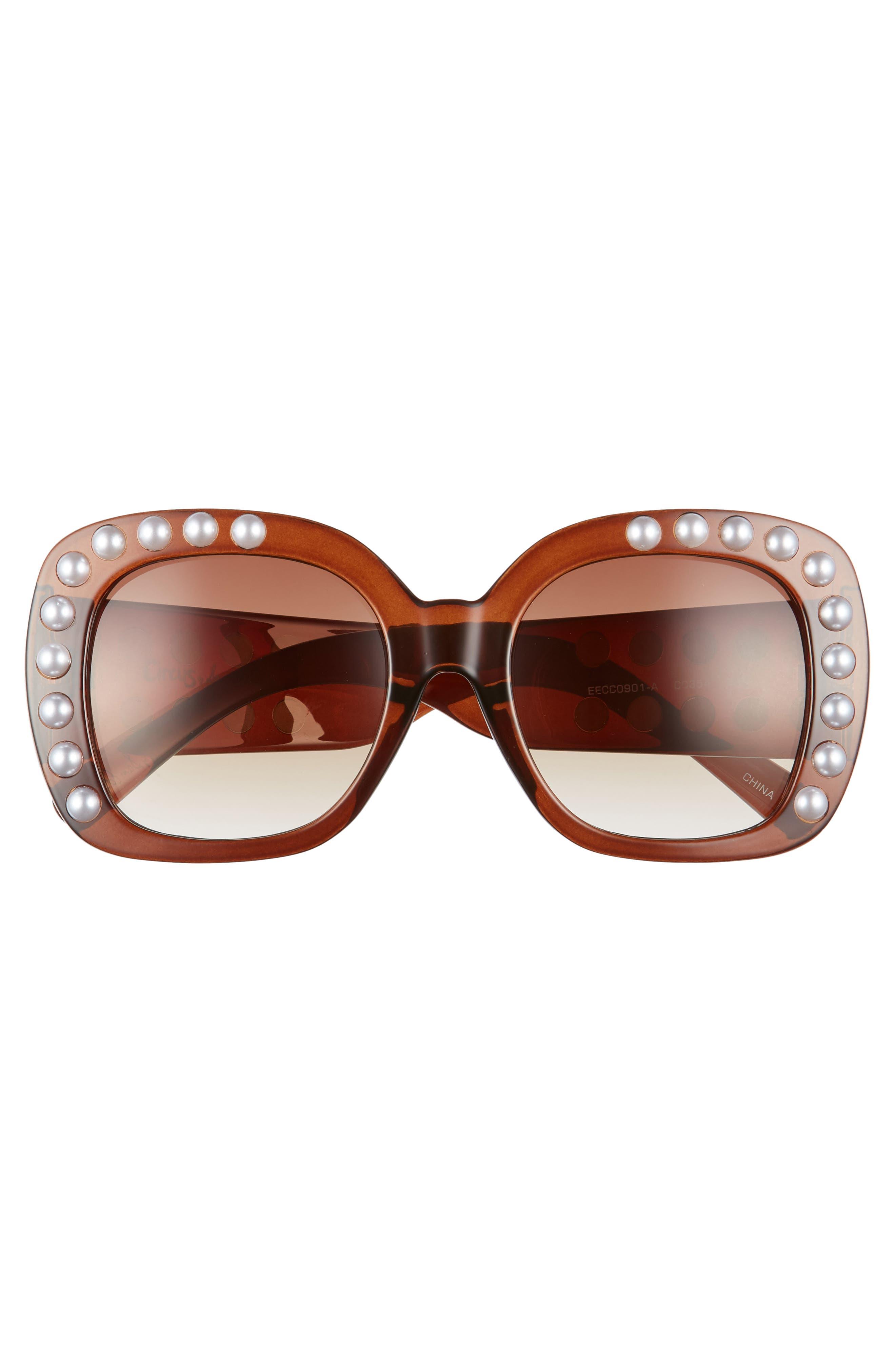 53mm Imitation Pearl Sunglasses,                             Alternate thumbnail 3, color,                             Brown