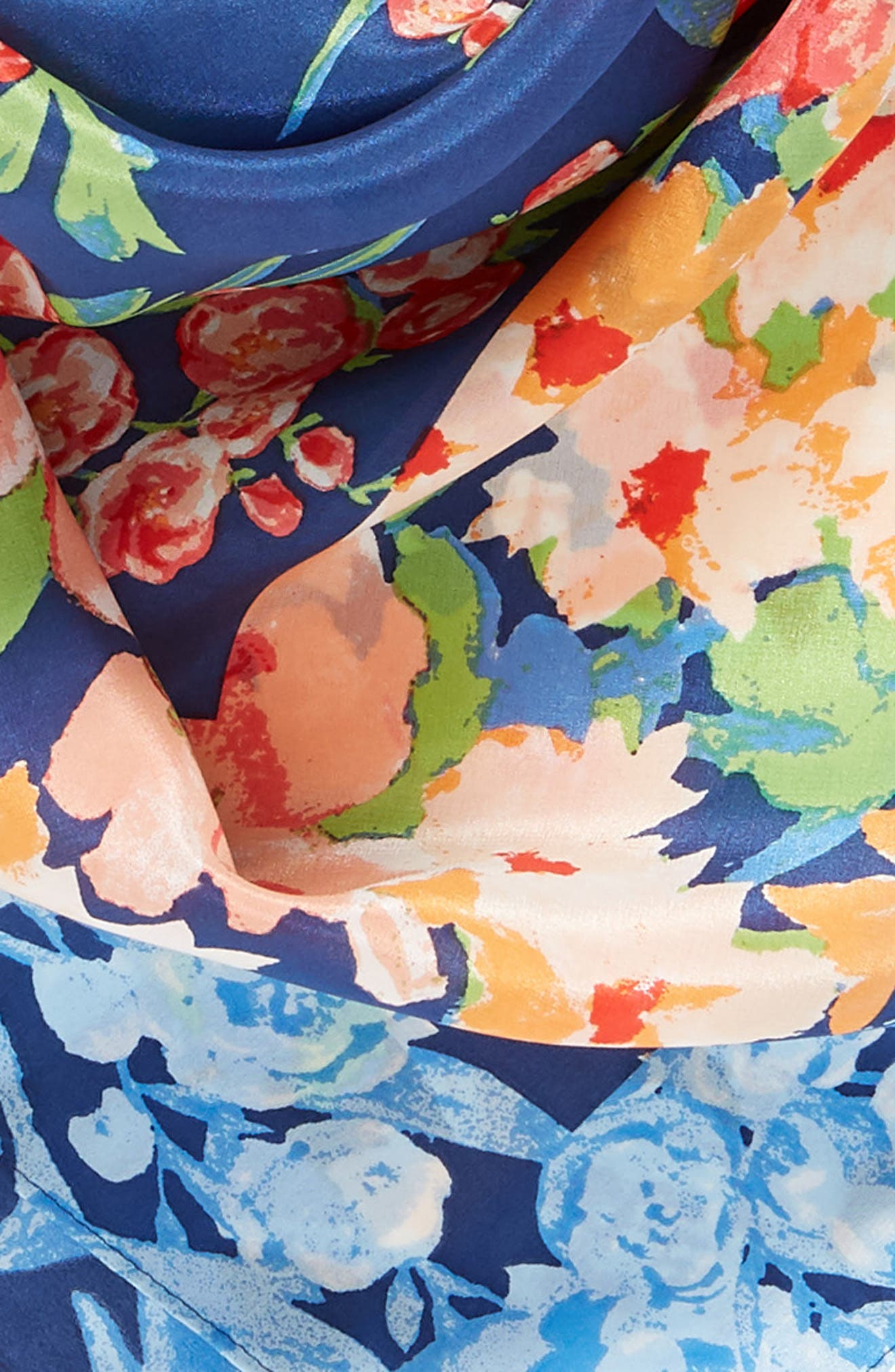 Airlie Beach Floral Silk Square Scarf,                             Alternate thumbnail 4, color,                             Navy