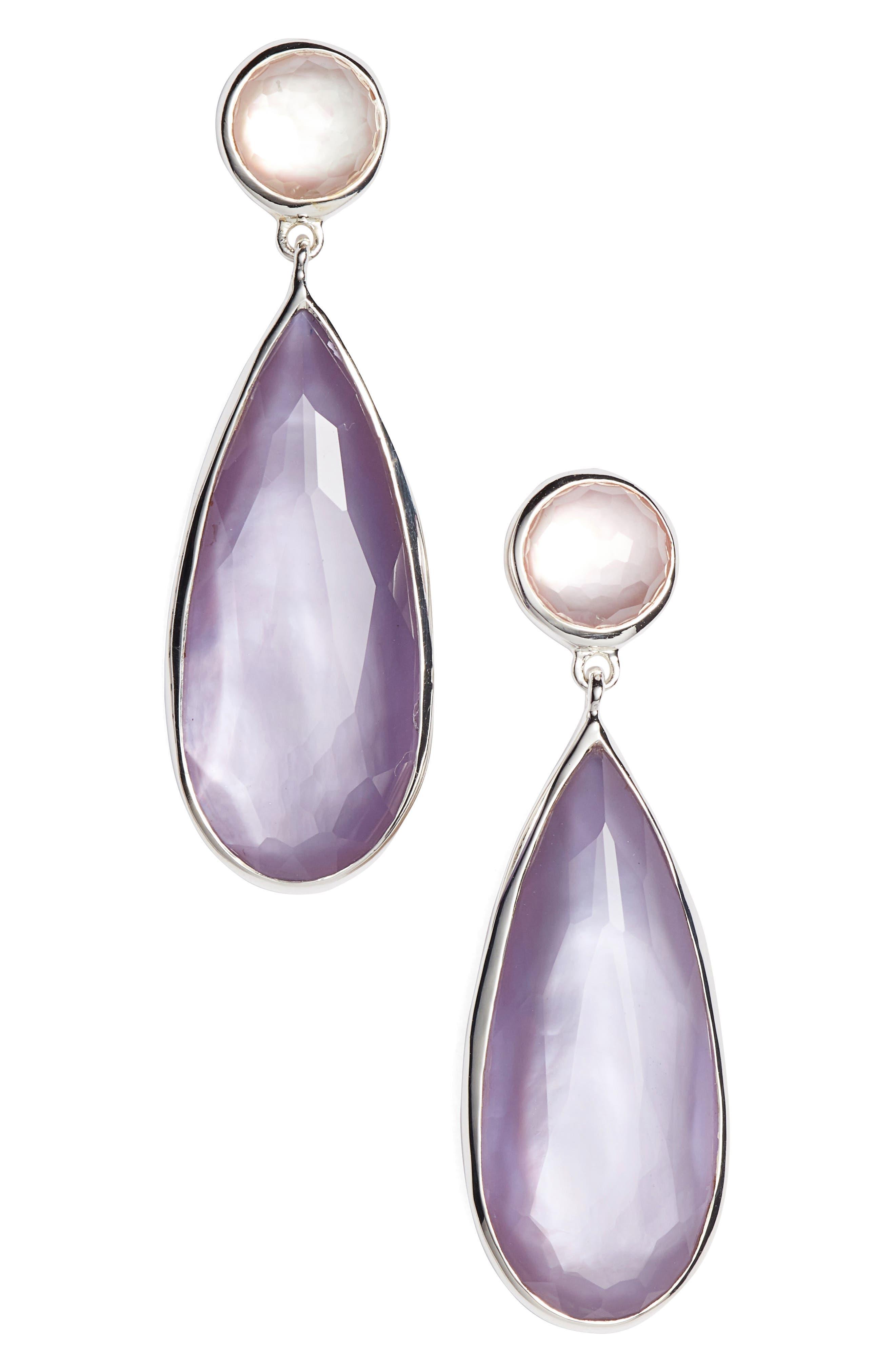 Wonderland Teardrop Earrings,                             Main thumbnail 1, color,                             Silver/ Primrose