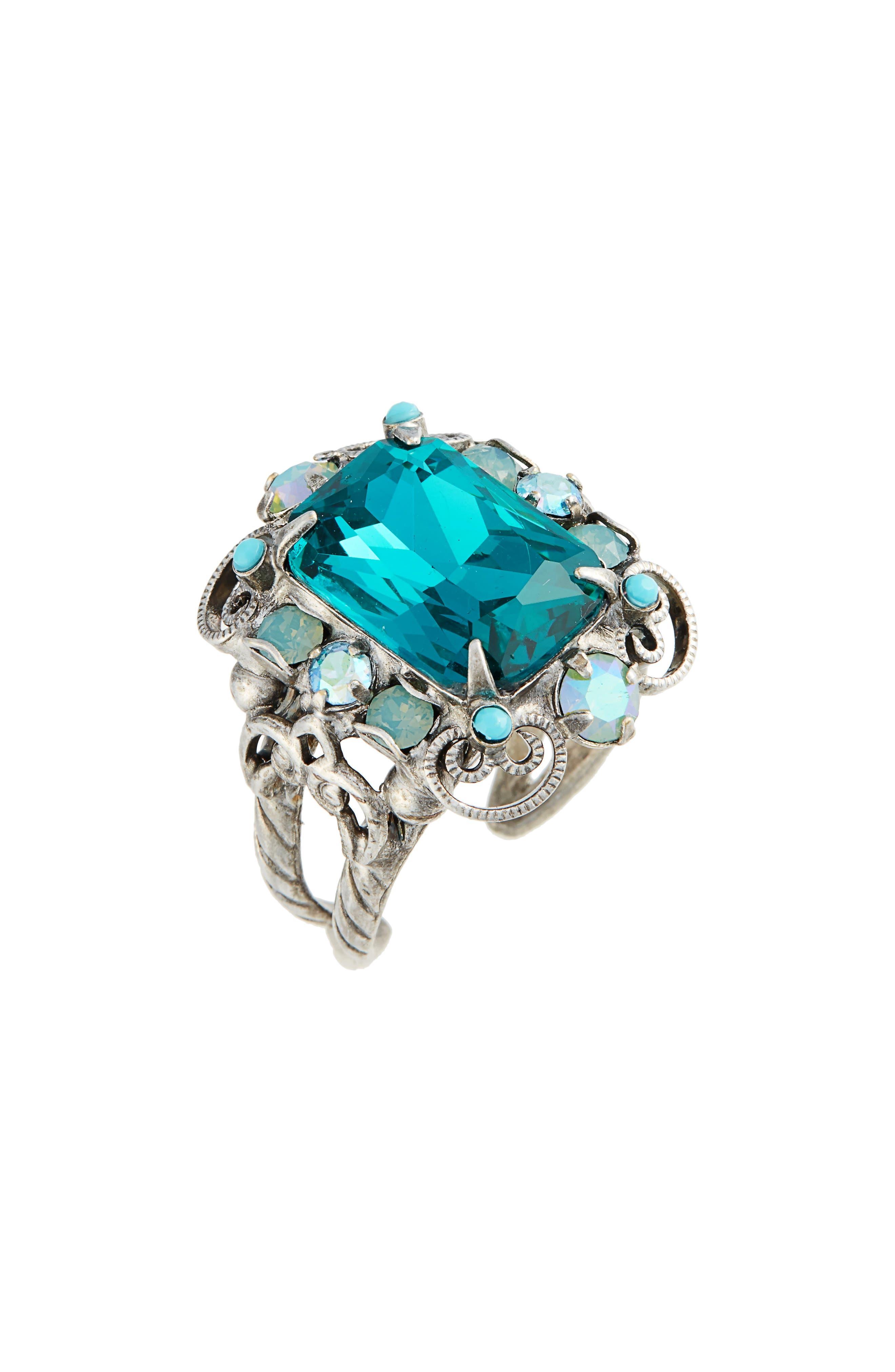 Sugar Maple Crystal Cocktail Ring,                             Main thumbnail 1, color,                             Blue-Green