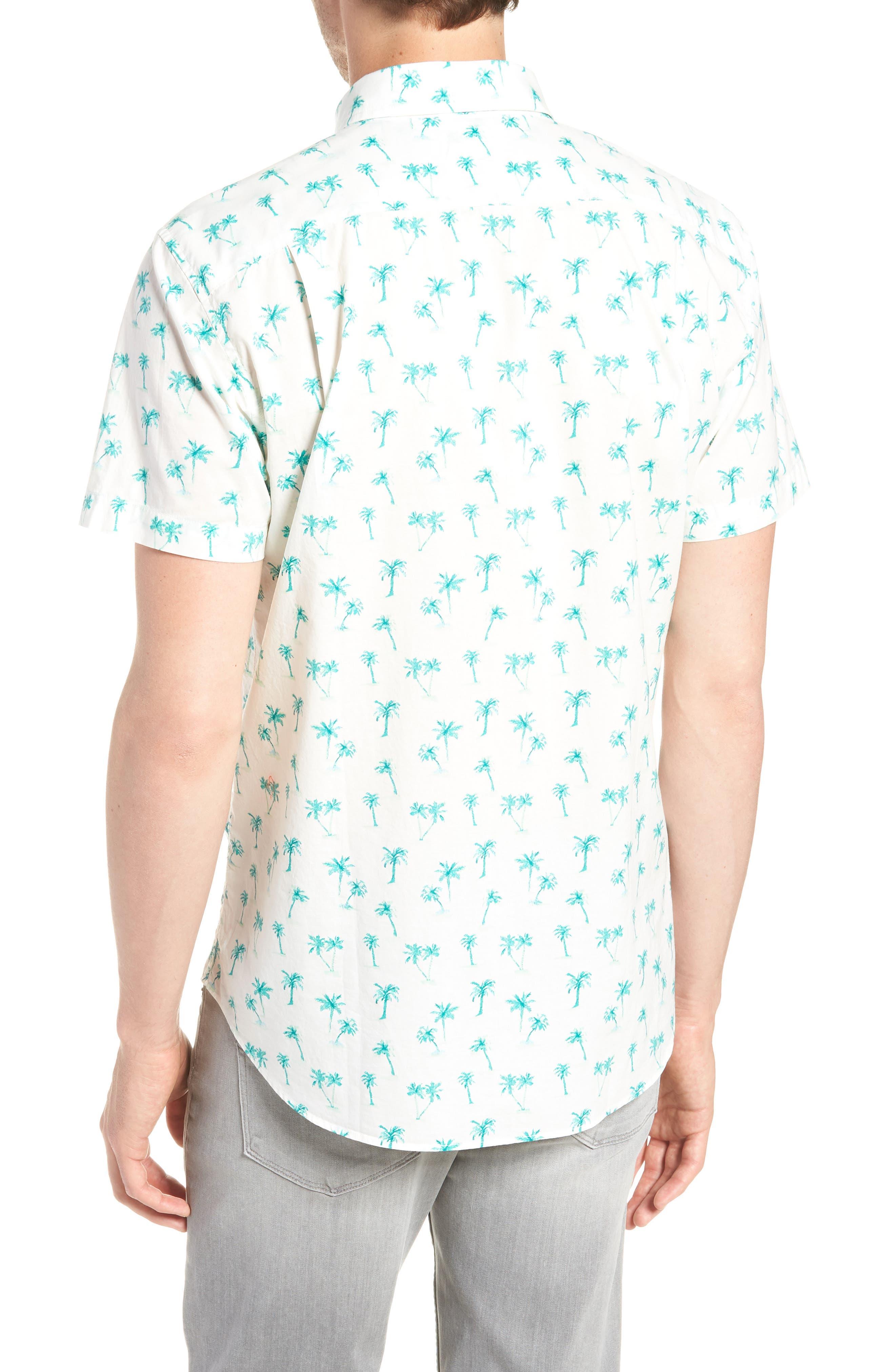 Riviera Slim Fit Palm Print Sport Shirt,                             Alternate thumbnail 3, color,                             Dreamy Palm - Latigo Bay