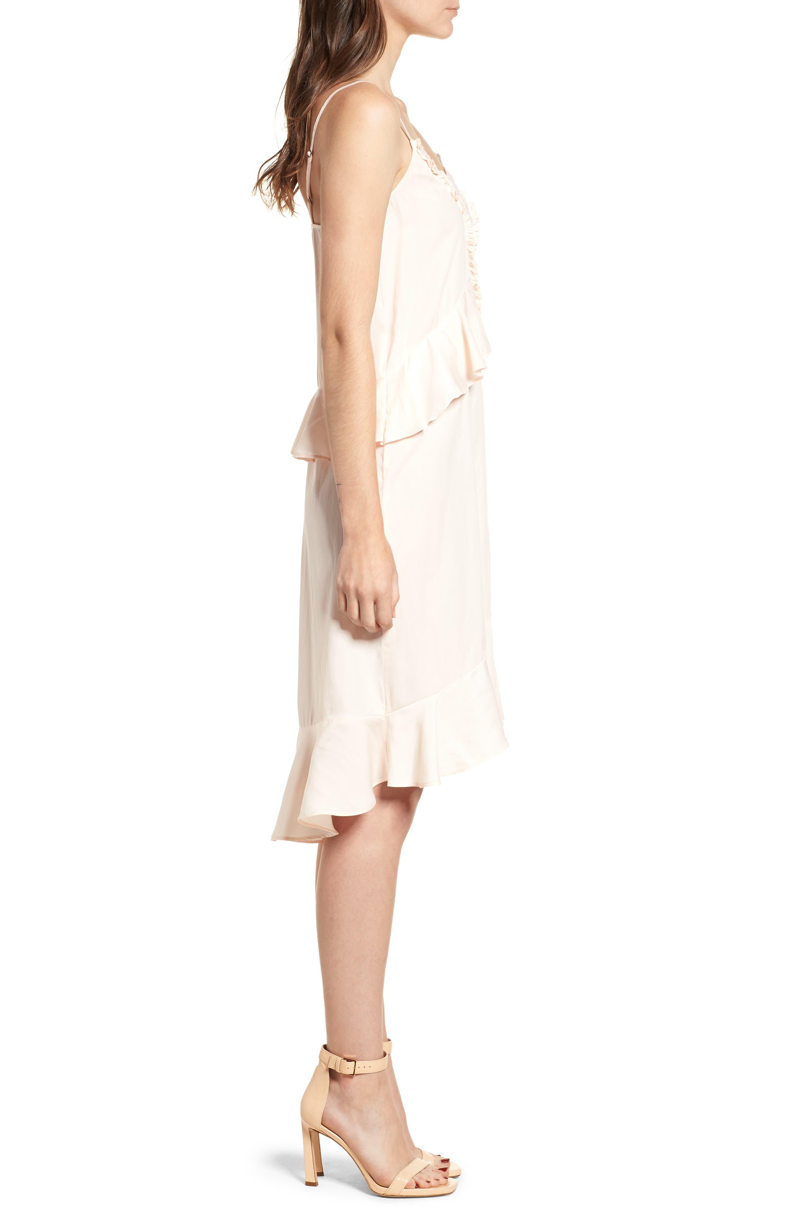 Lace Trim Dress,                             Alternate thumbnail 3, color,                             Pink Scallop