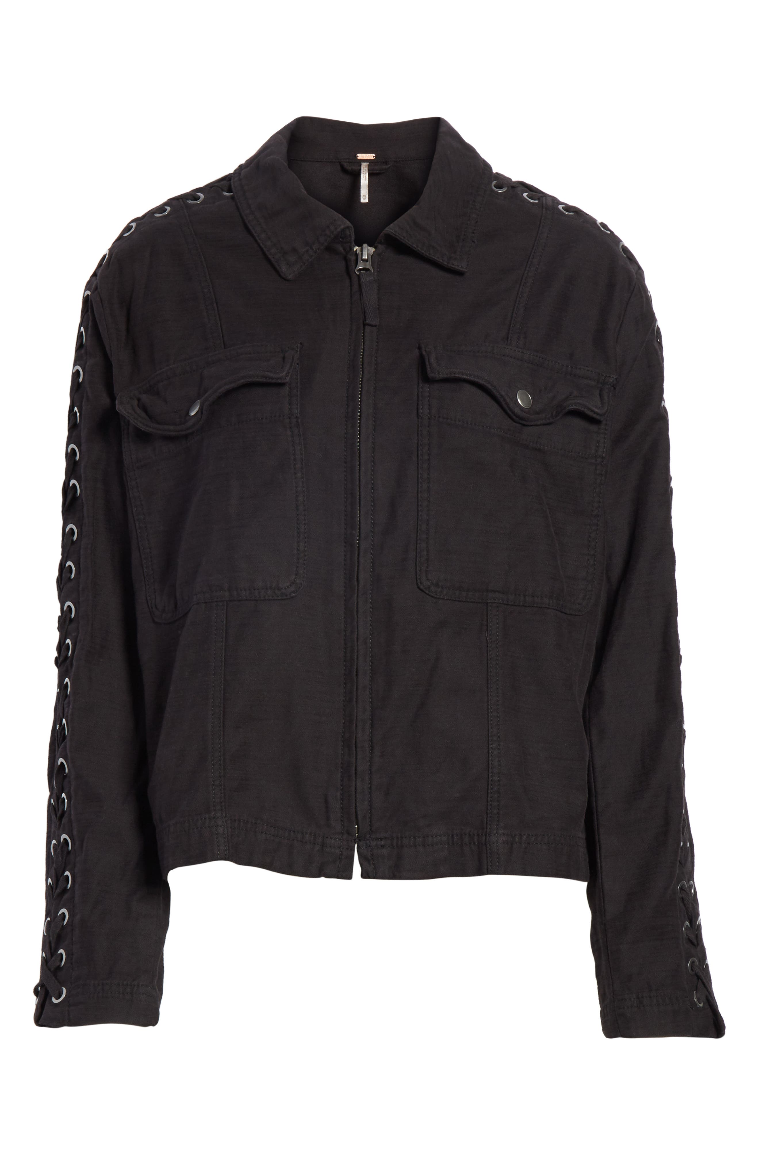 Faye Military Jacket,                             Alternate thumbnail 6, color,                             Black
