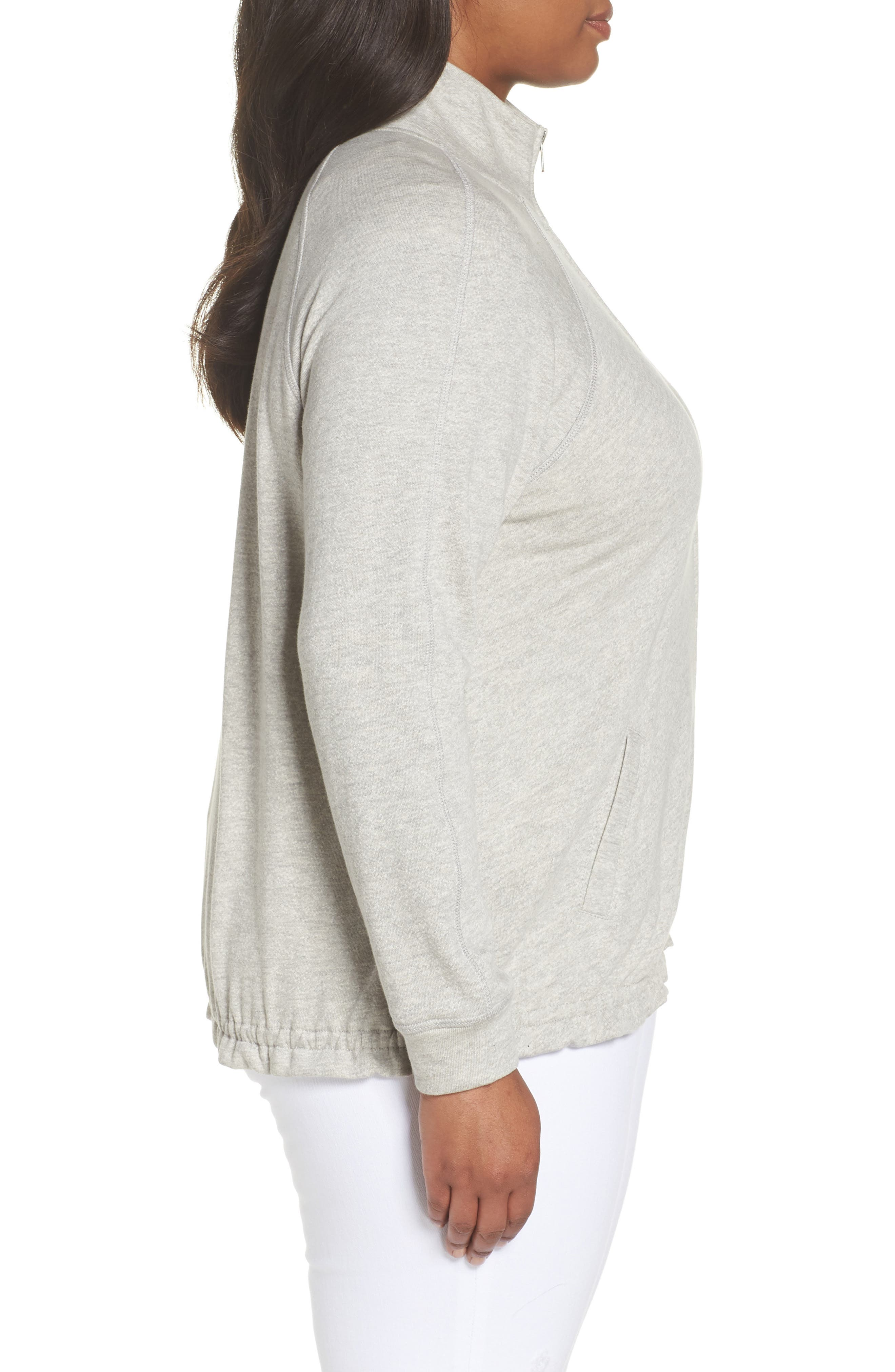Off-Duty Knit Track Jacket,                             Alternate thumbnail 3, color,                             Grey Heather