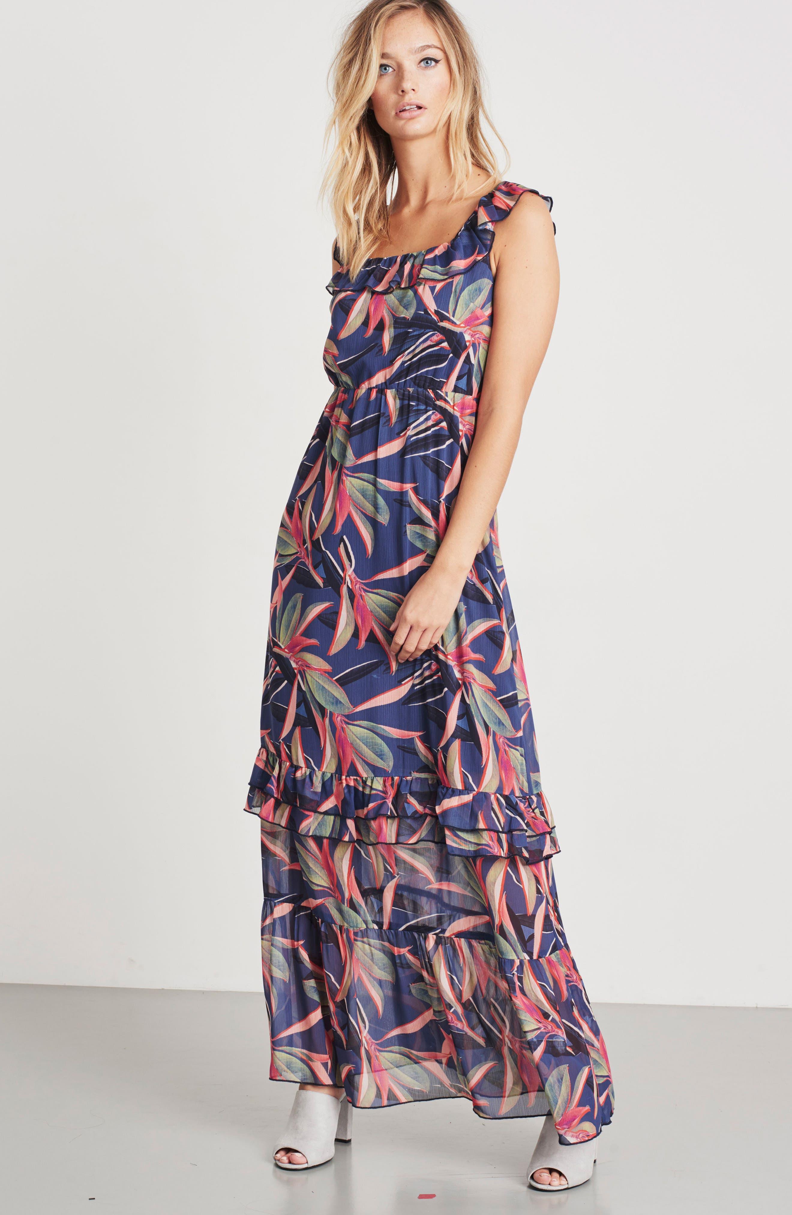 Ruffle Maxi Dress,                             Alternate thumbnail 2, color,                             Multi