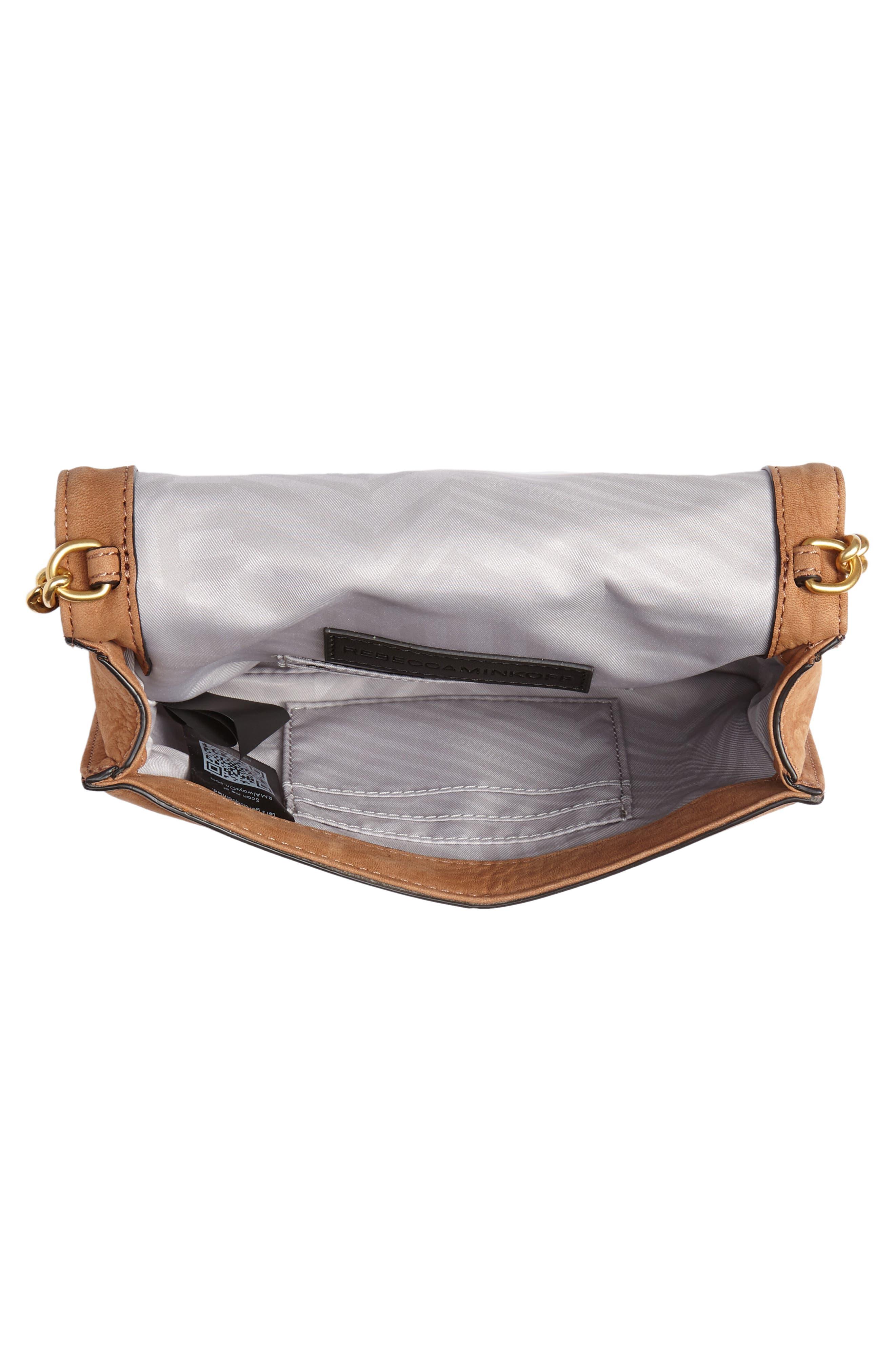 Small Love Nubuck Leather Crossbody Bag,                             Alternate thumbnail 5, color,                             Almond