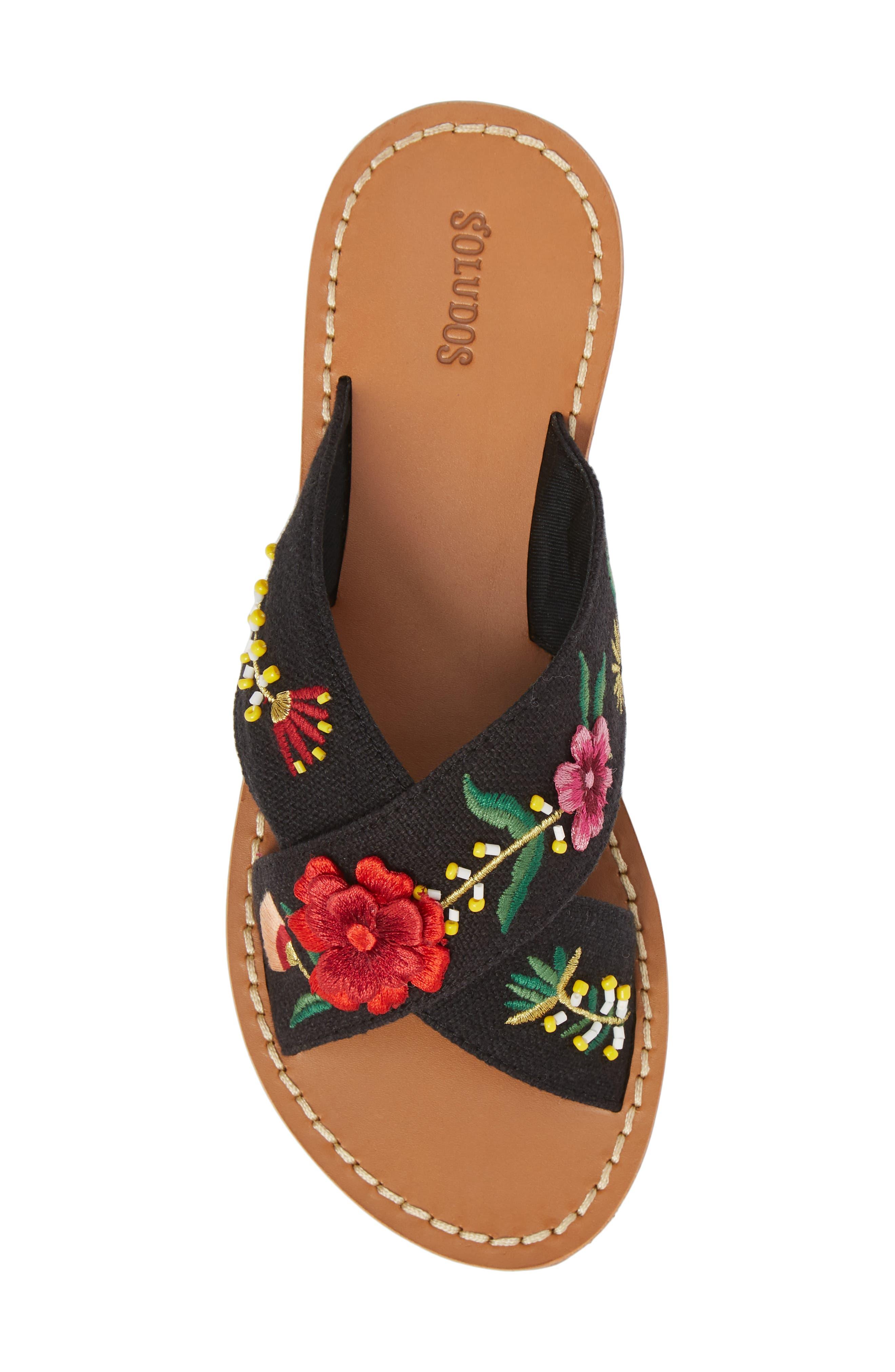 Embellished Floral Sandal,                             Alternate thumbnail 5, color,                             Black