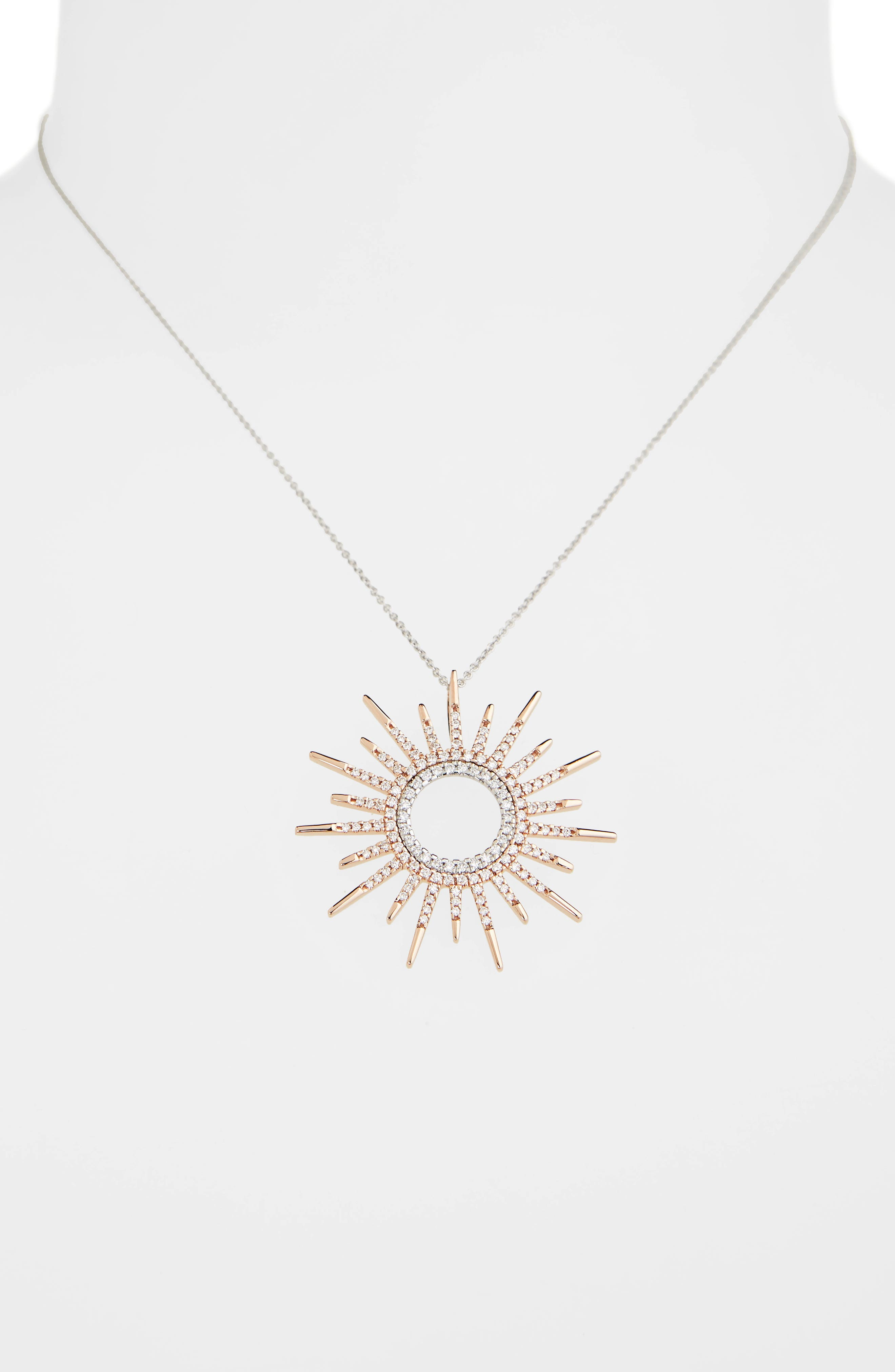 Diamond Sunburst Pendant Necklace,                             Alternate thumbnail 2, color,                             Rose Gold