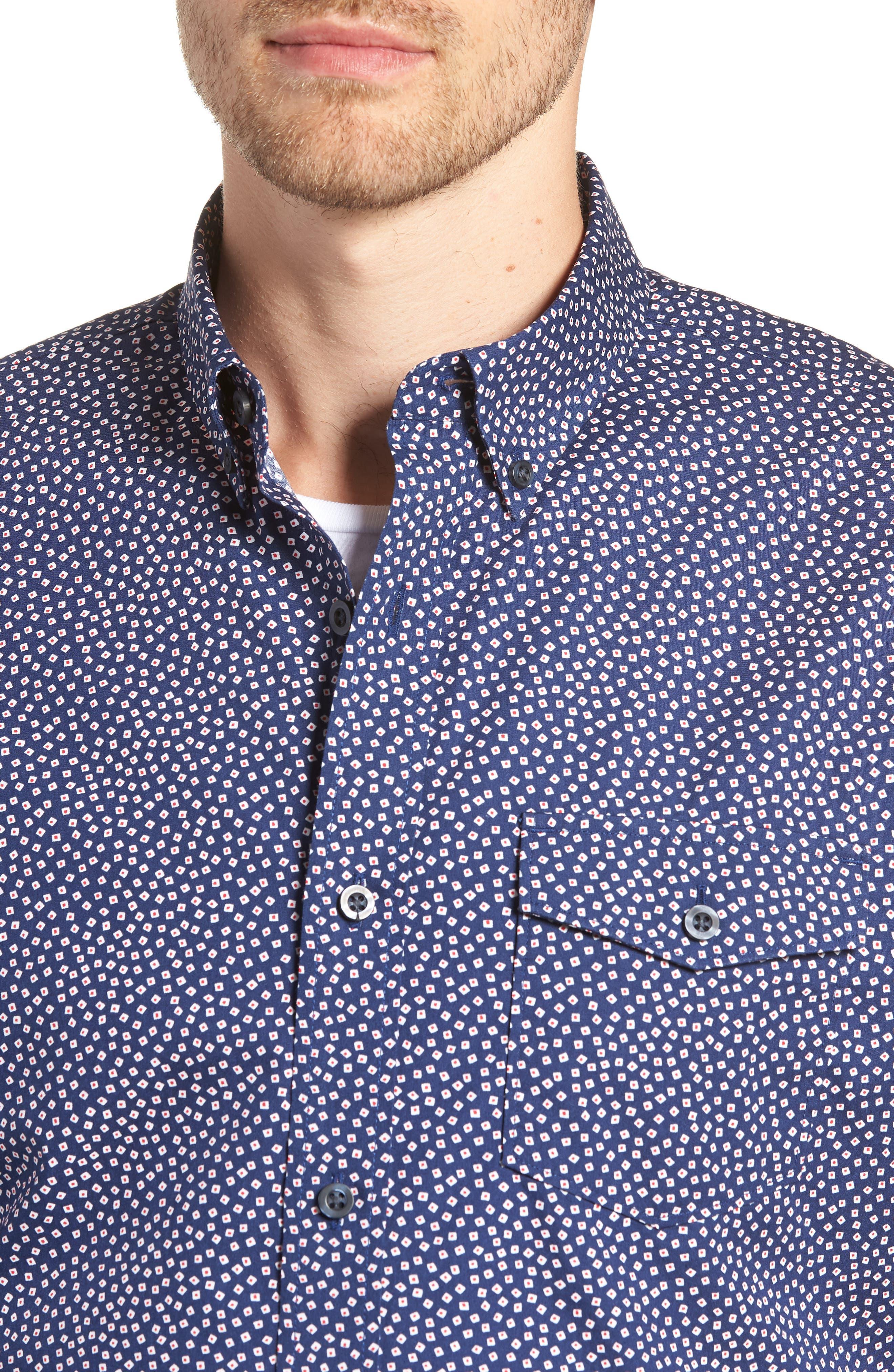 Ivy Trim Fit Print Sport Shirt,                             Alternate thumbnail 2, color,                             Navy Iris Tossed Squares