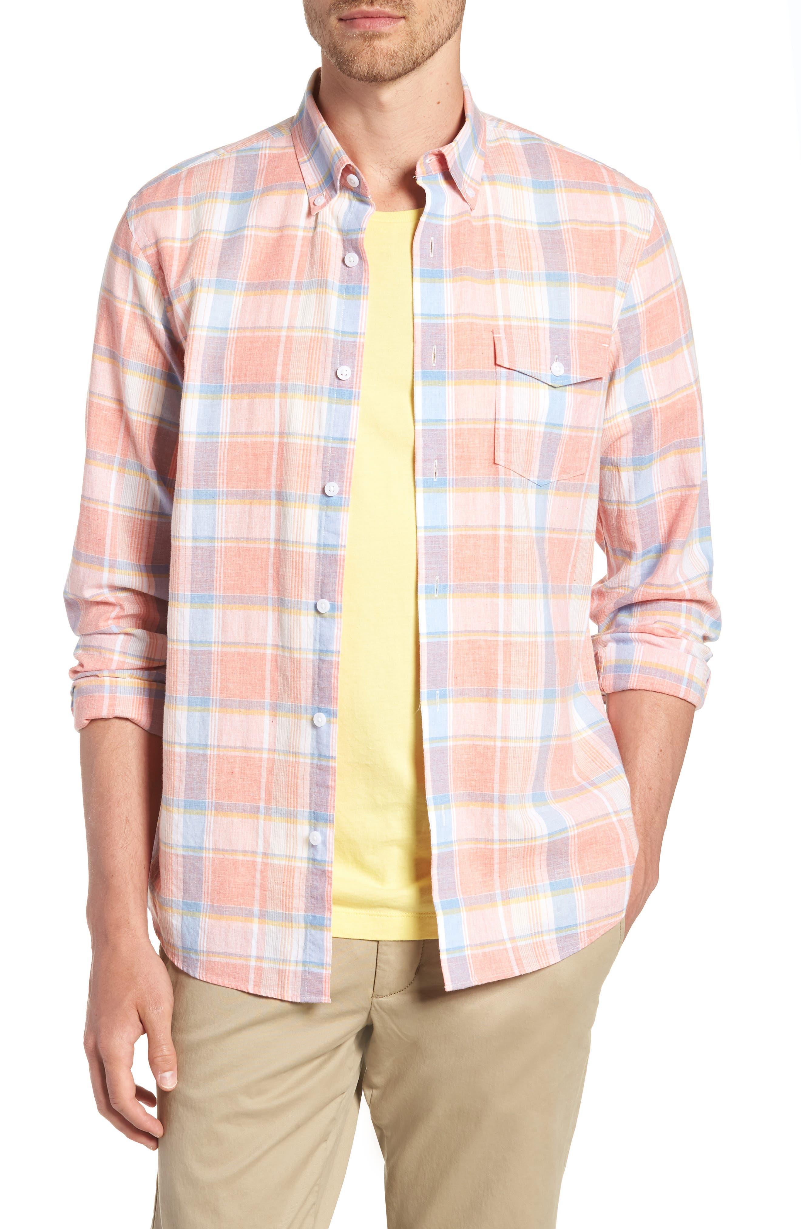 Trim Fit Plaid Linen & Cotton Sport Shirt,                         Main,                         color, Coral Hot White Plaid