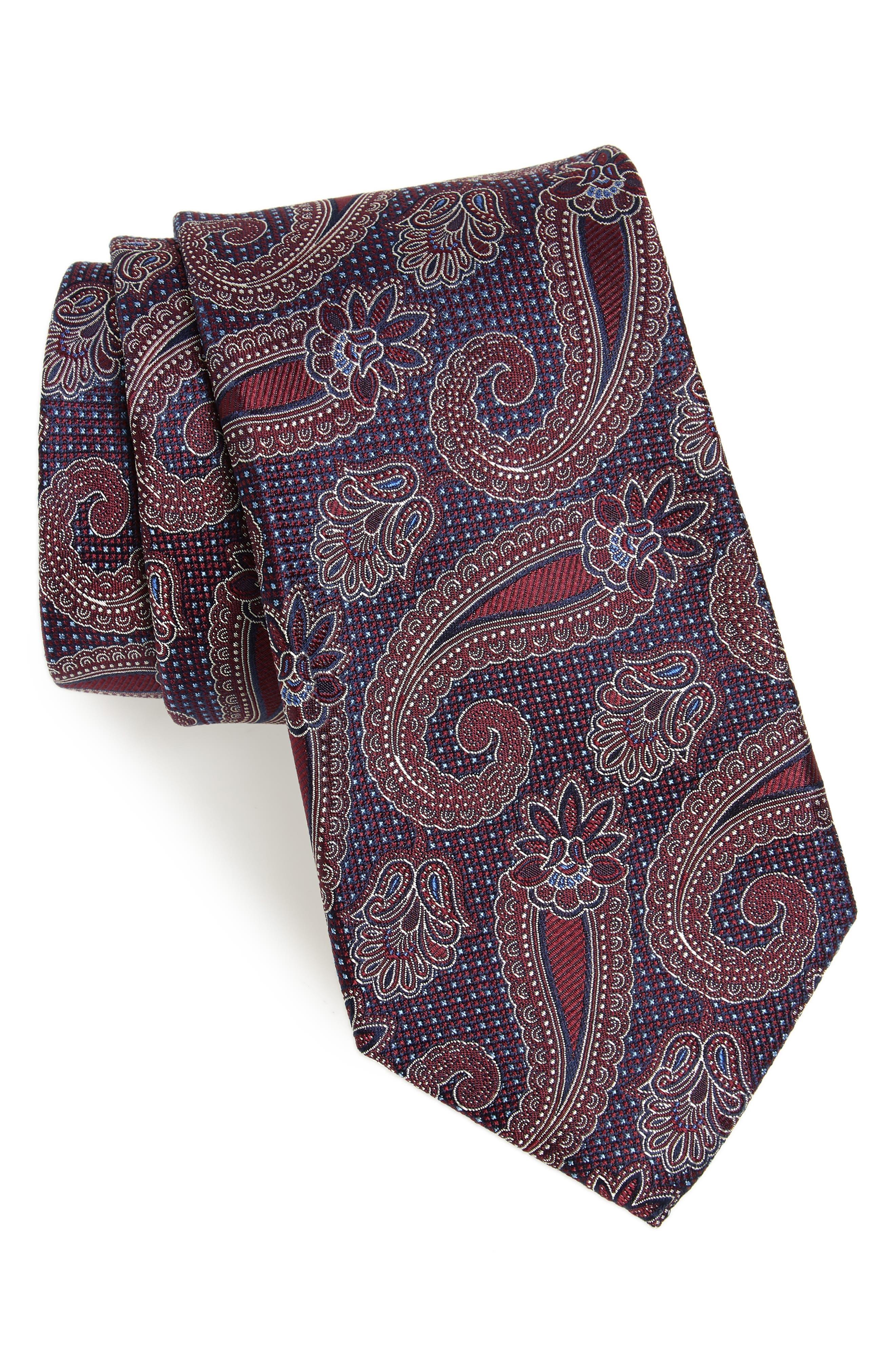 Emery Paisley Silk Tie,                             Main thumbnail 1, color,                             Burgundy