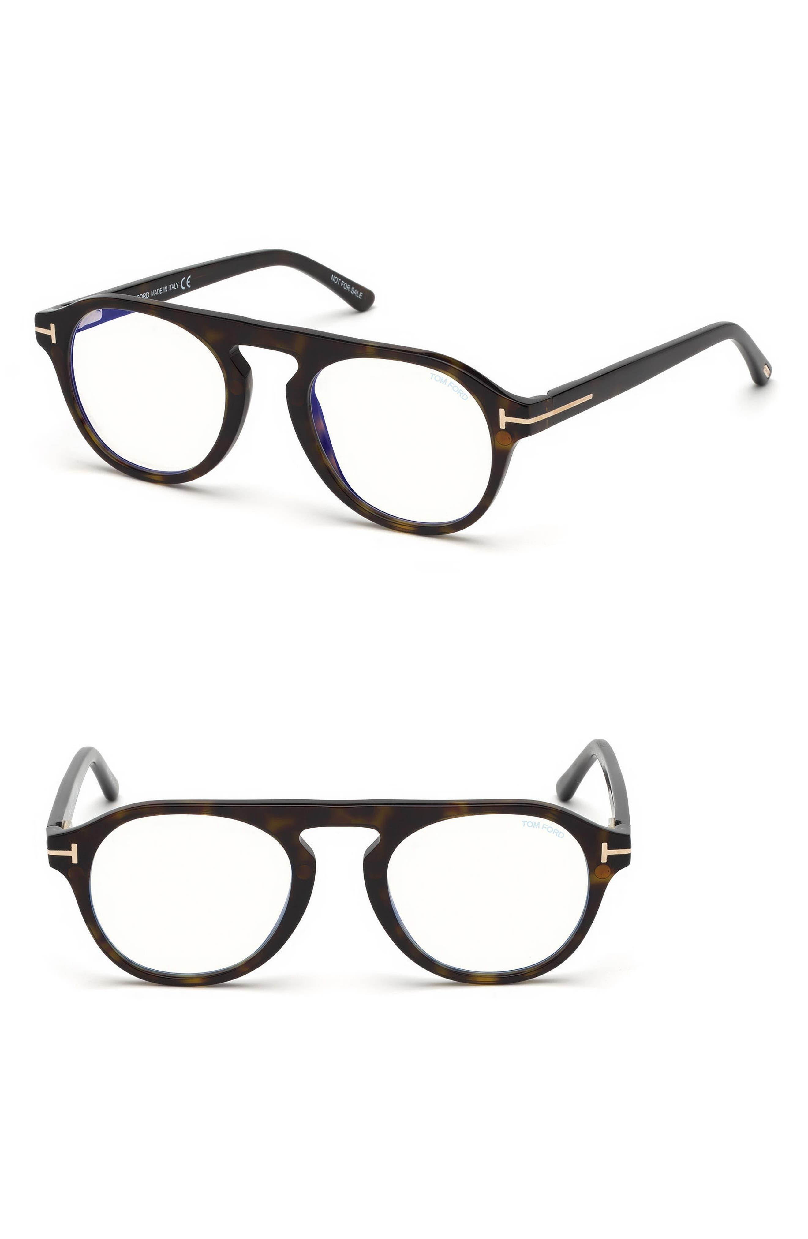 Blueblock 49mm Sunglasses with Clip-On Lens,                             Main thumbnail 1, color,                             Dark Havana