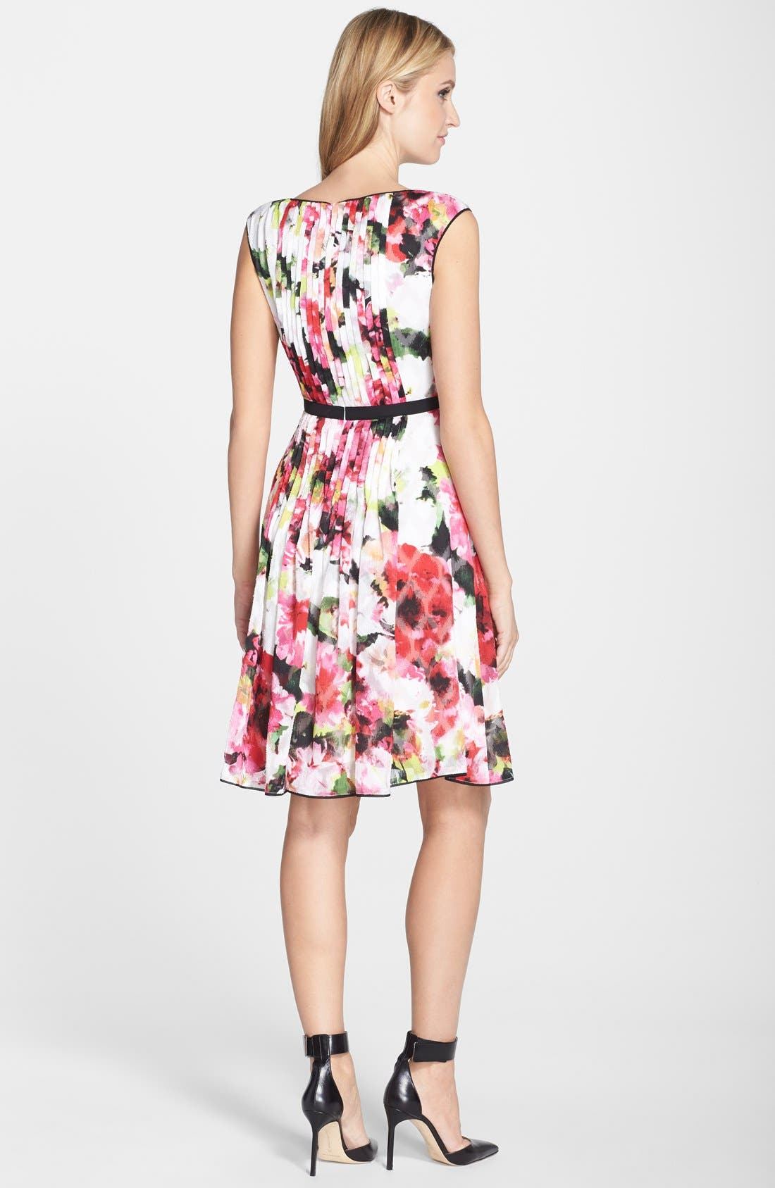 Alternate Image 2  - Adrianna Papell Floral Print Pleated Fit & Flare Dress