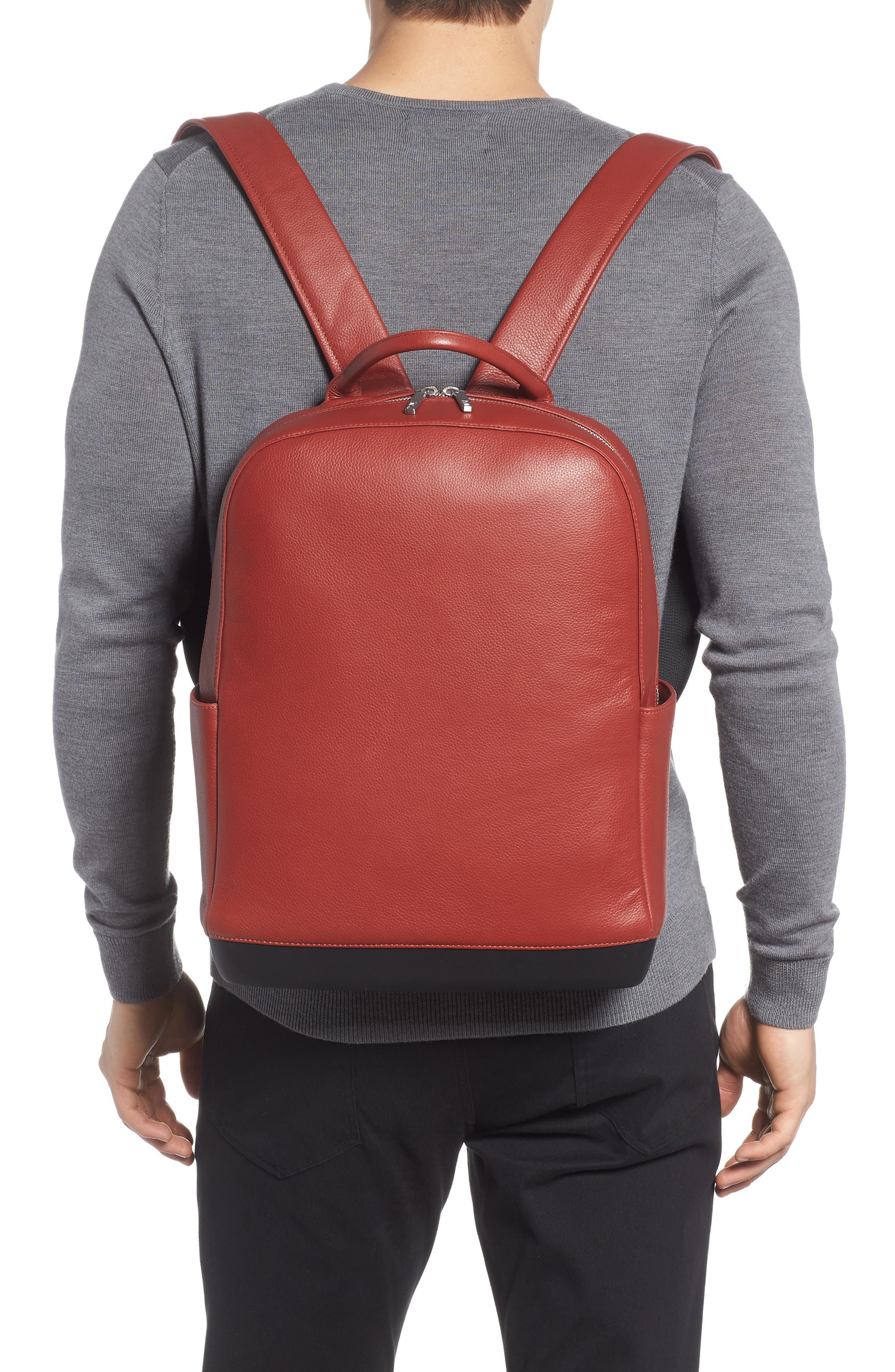 Leather Backpack,                             Alternate thumbnail 2, color,                             Terrace Red