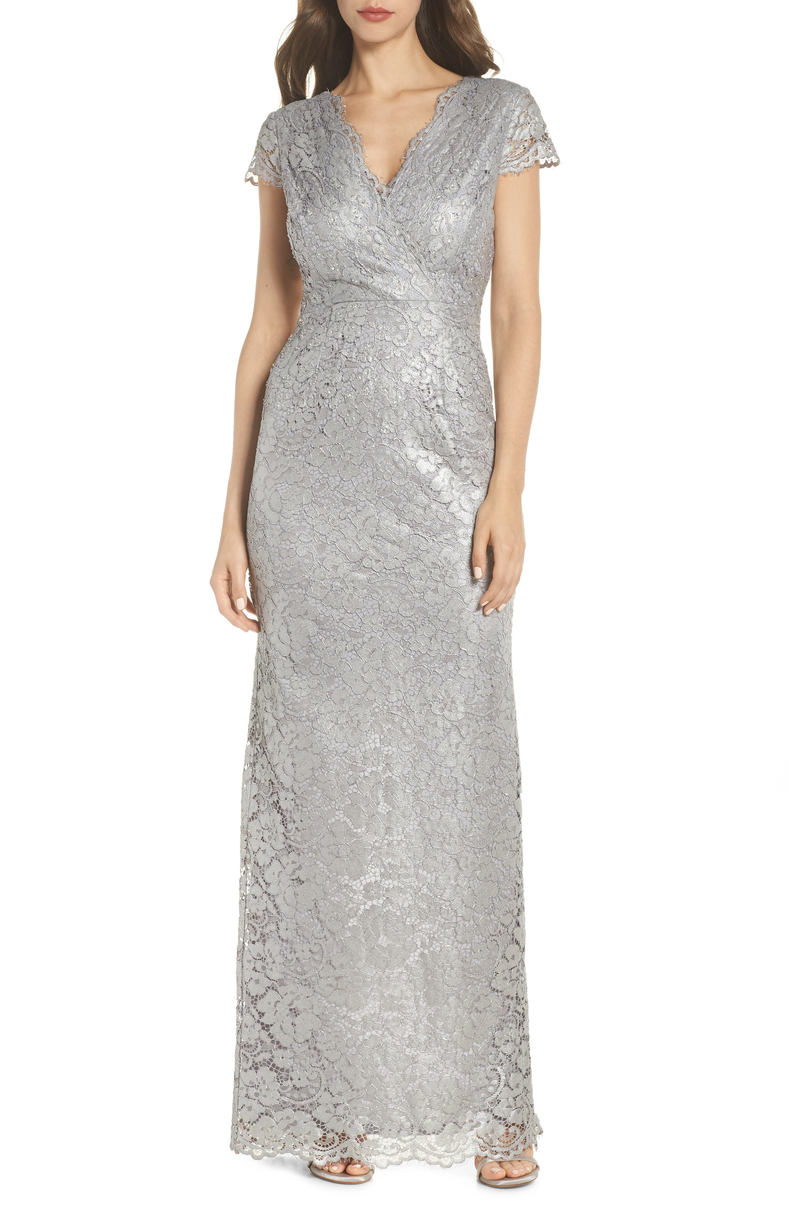 Metallic Lace Gown,                             Main thumbnail 1, color,                             Quartz
