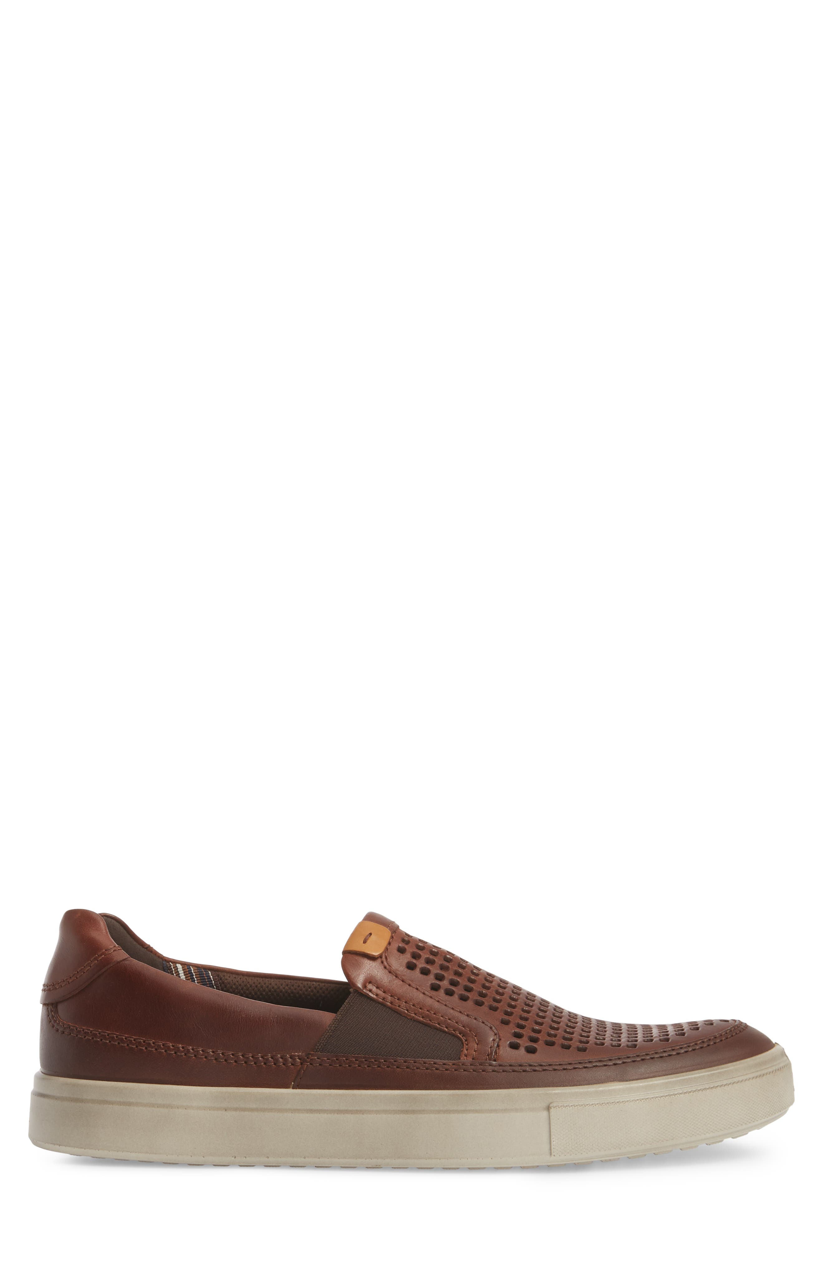 Kyle Perforated Slip-On Sneaker,                             Alternate thumbnail 3, color,                             Cognac Leather
