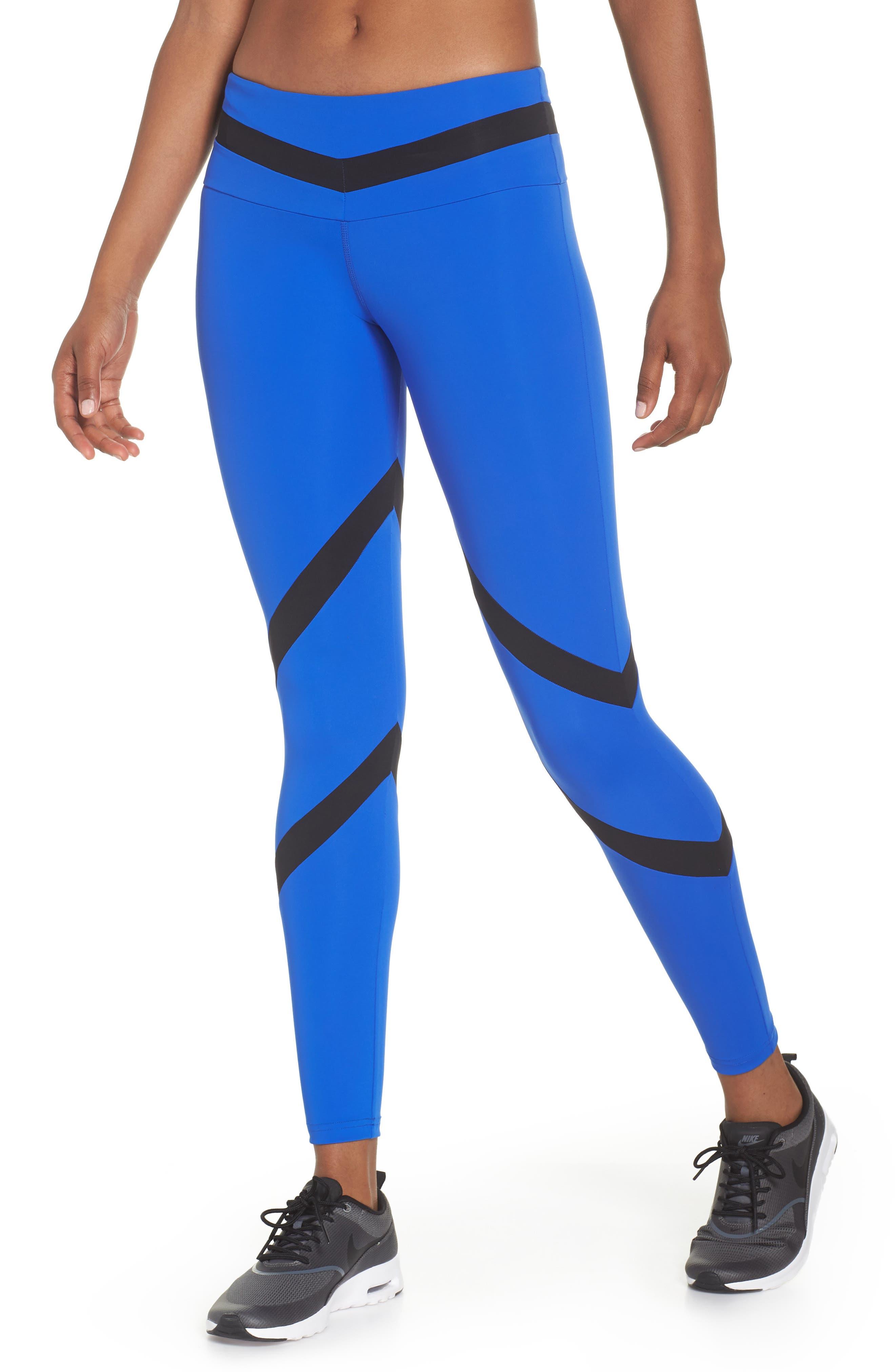 BoomBoom Athletica Tricolor Leggings,                             Main thumbnail 1, color,                             Cobalt Blue/ Black